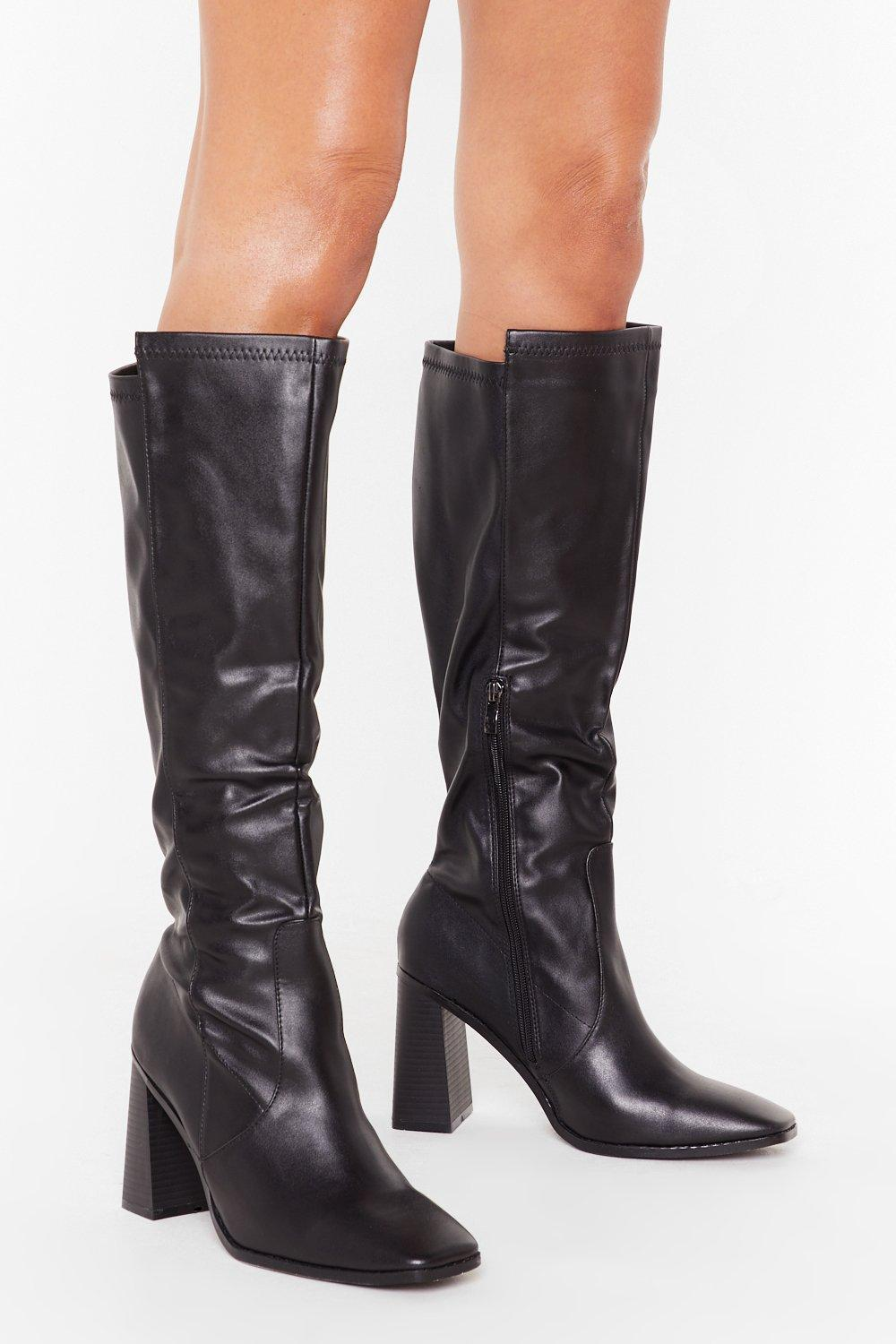 Image of As If We Flare Faux Leather Knee-High Boots