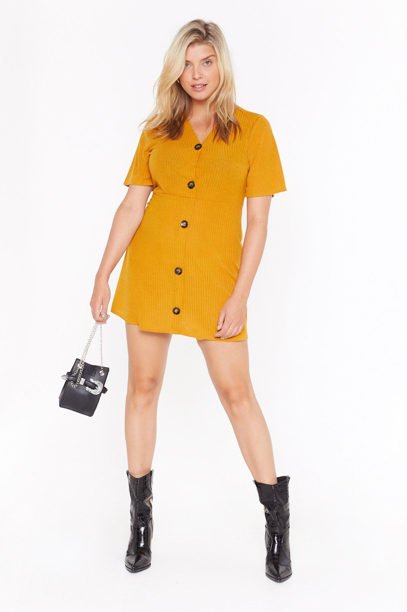 Image of Get Button With It Plus Ribbed Mini Dress