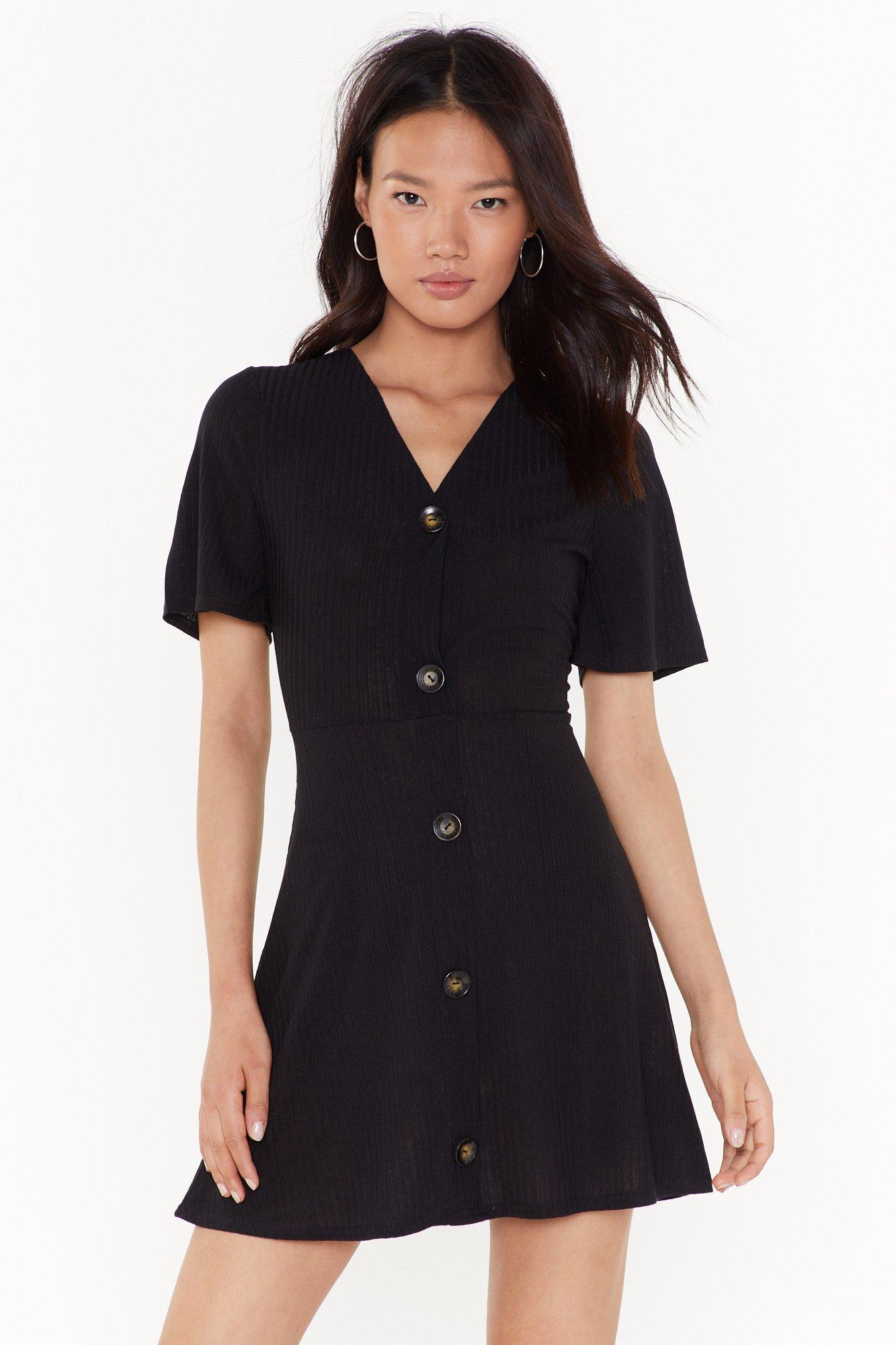 Image of Get Button With It Ribbed Mini Dress