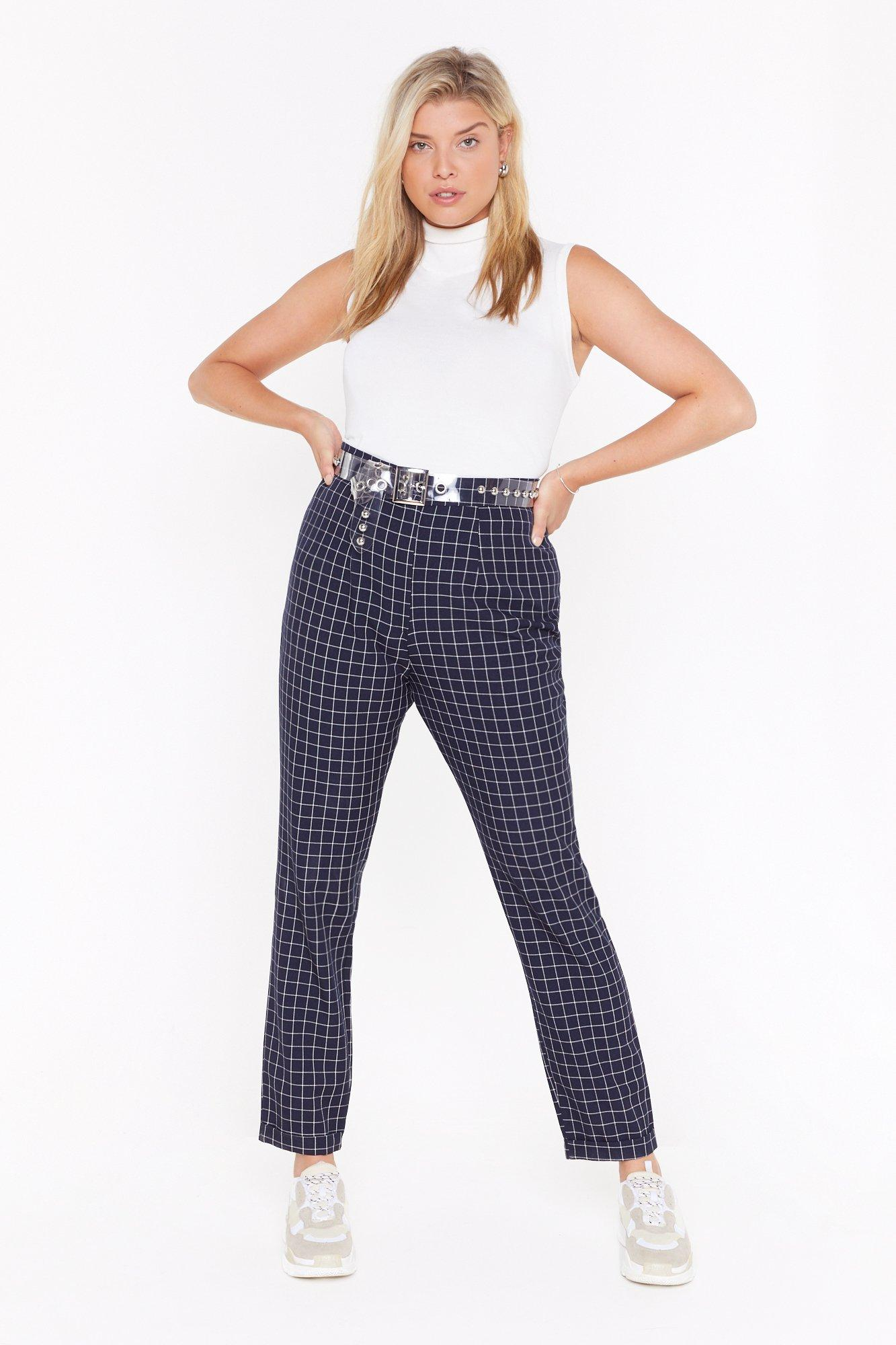 Image of Line 'Em Up Check High-Waisted Pants
