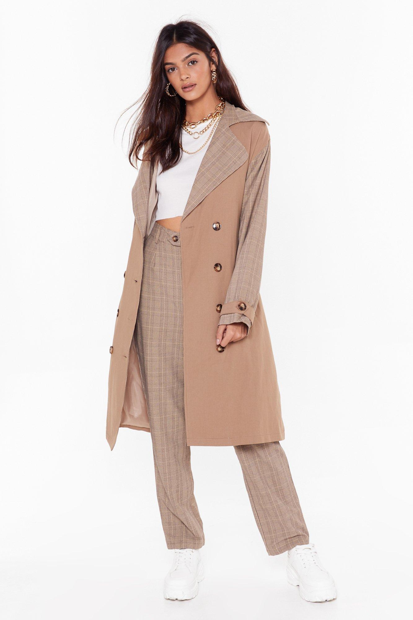Image of Check Ya Later Double Breasted Trench Coat