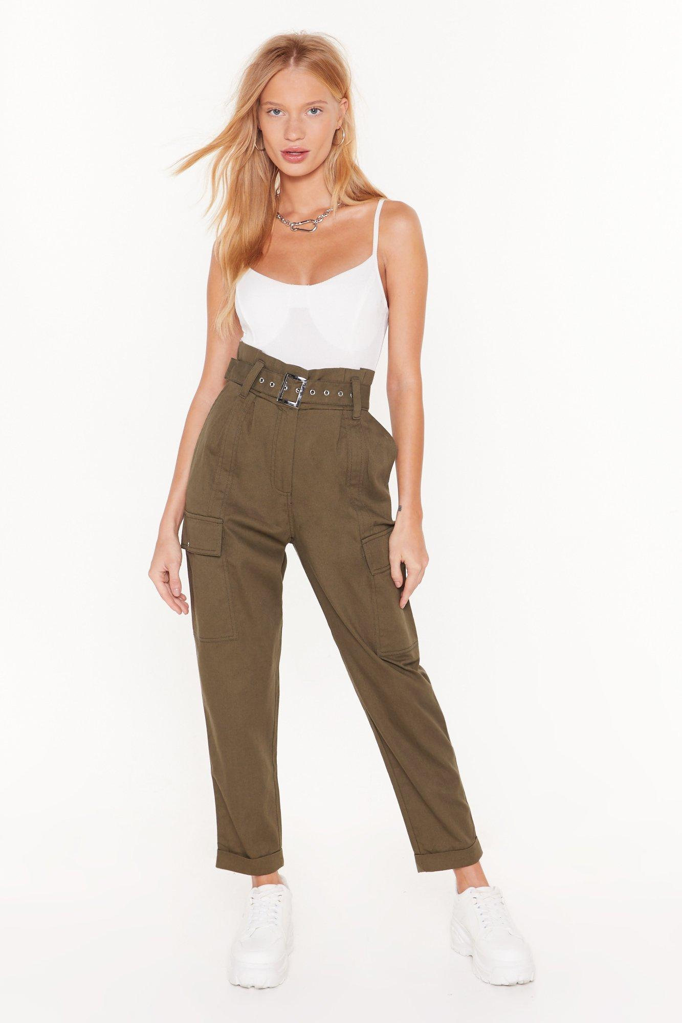 Image of Cargo For It High-Waisted Belted Pants