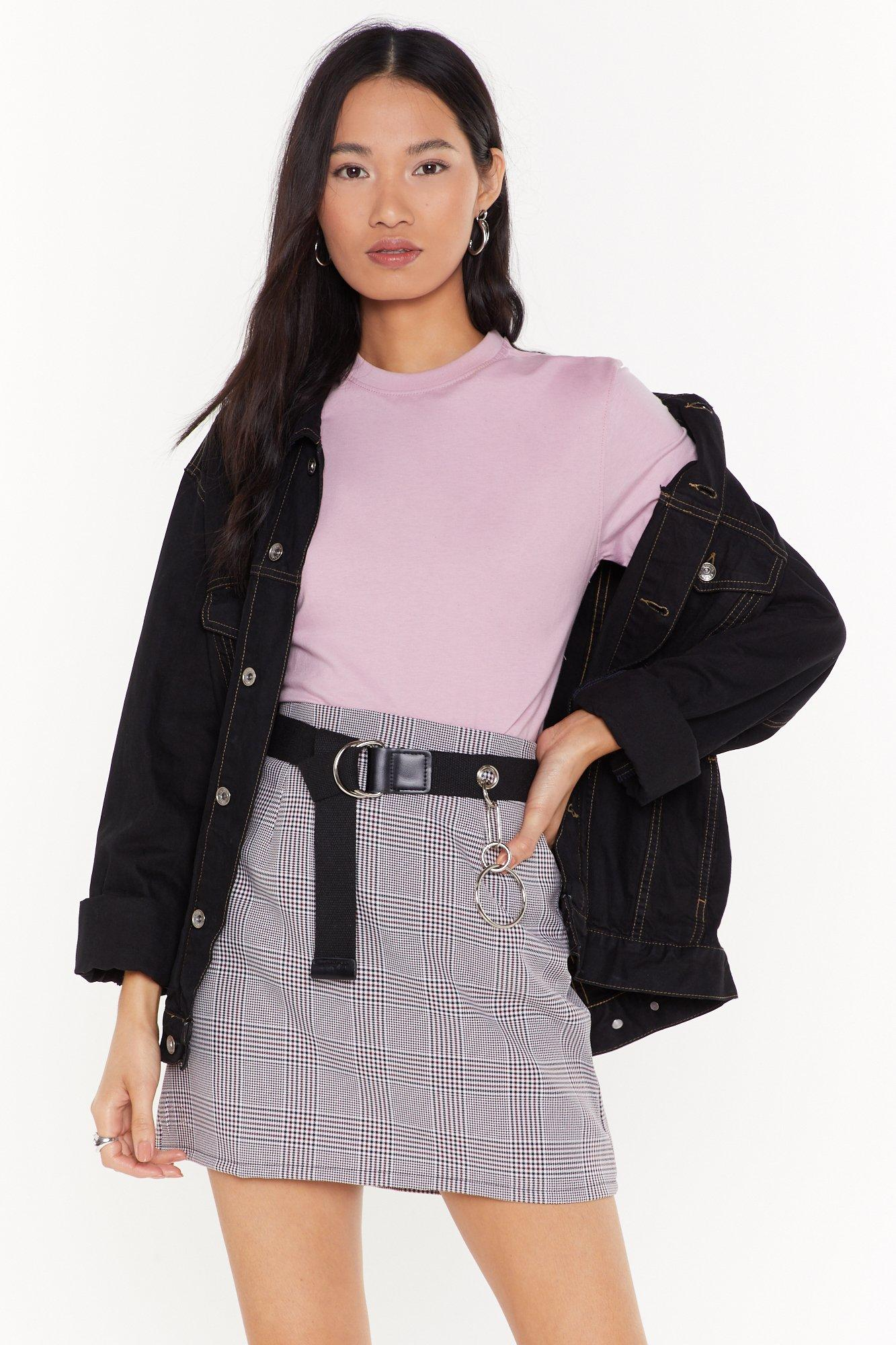 Image of red check mini skirt