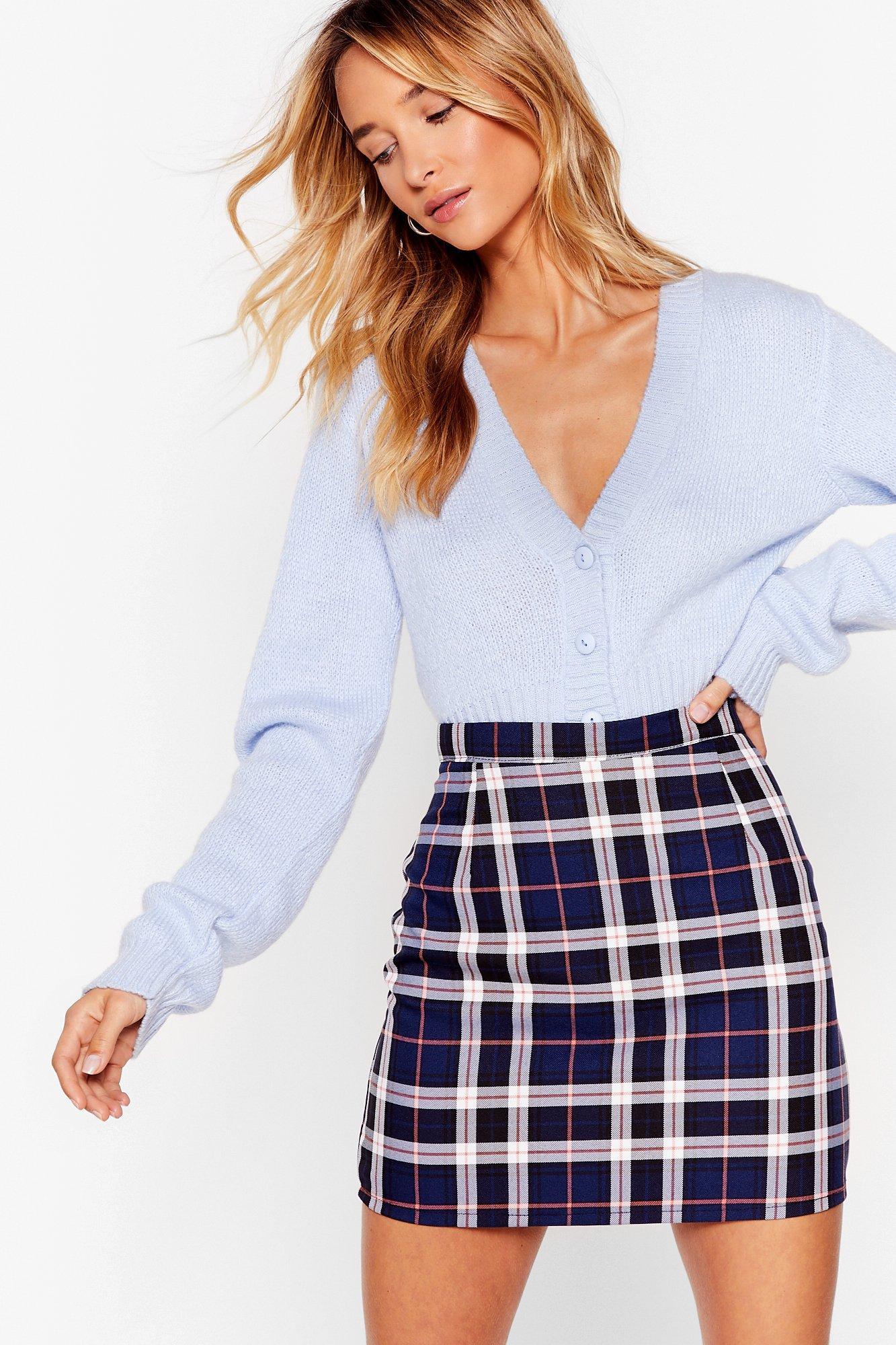 Image of bold check mini skirt