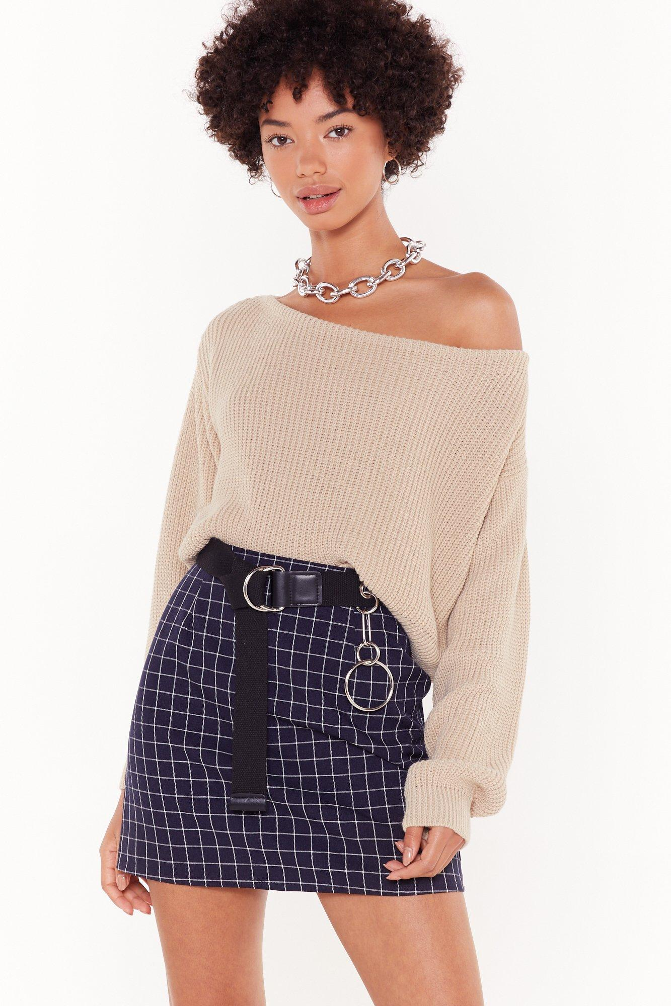 Image of Never Getting Grid of Me Check Mini Skirt