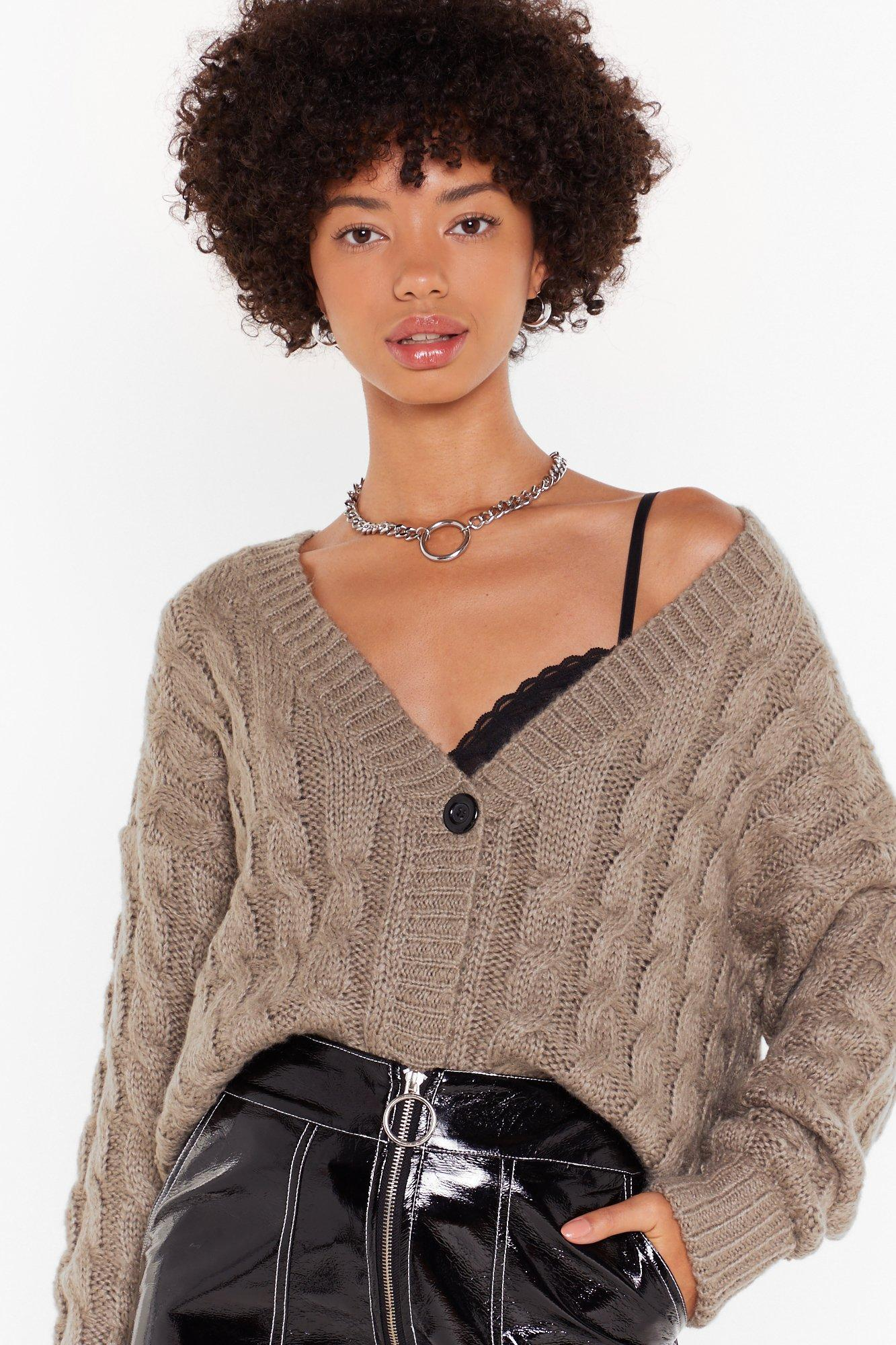 Image of Cable to Love Knit Button-Down Cardigan