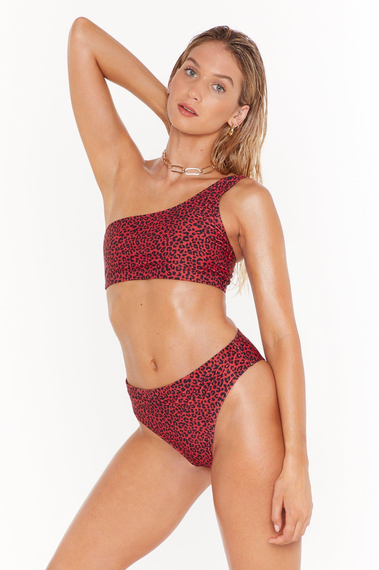 Image of Prowlin' Around the Pool Leopard One Shoulder Bikini Set