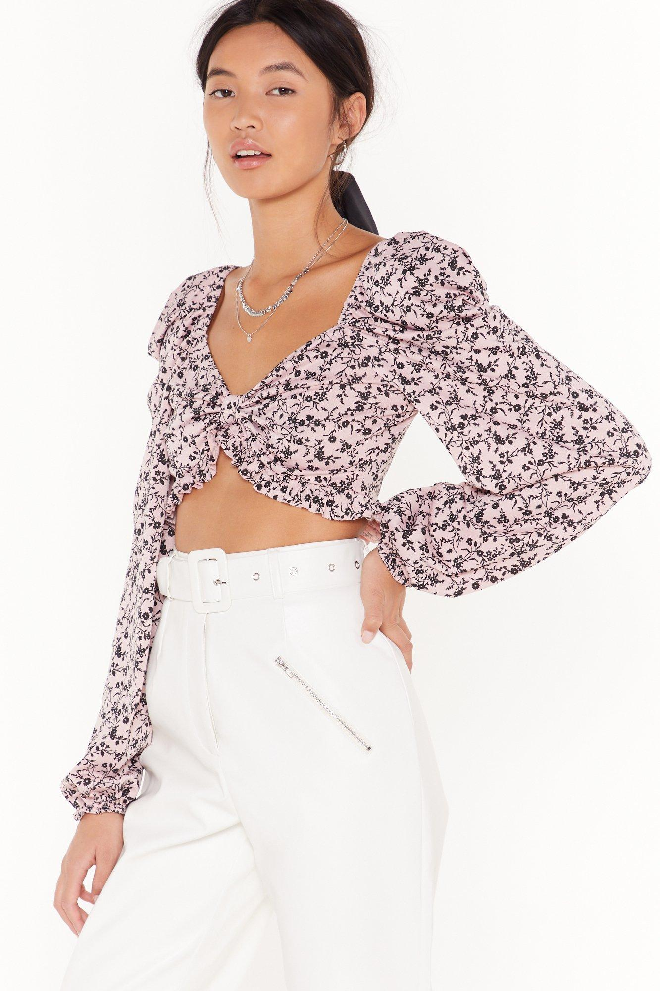 Image of Extreme puff sleeve floral crop top