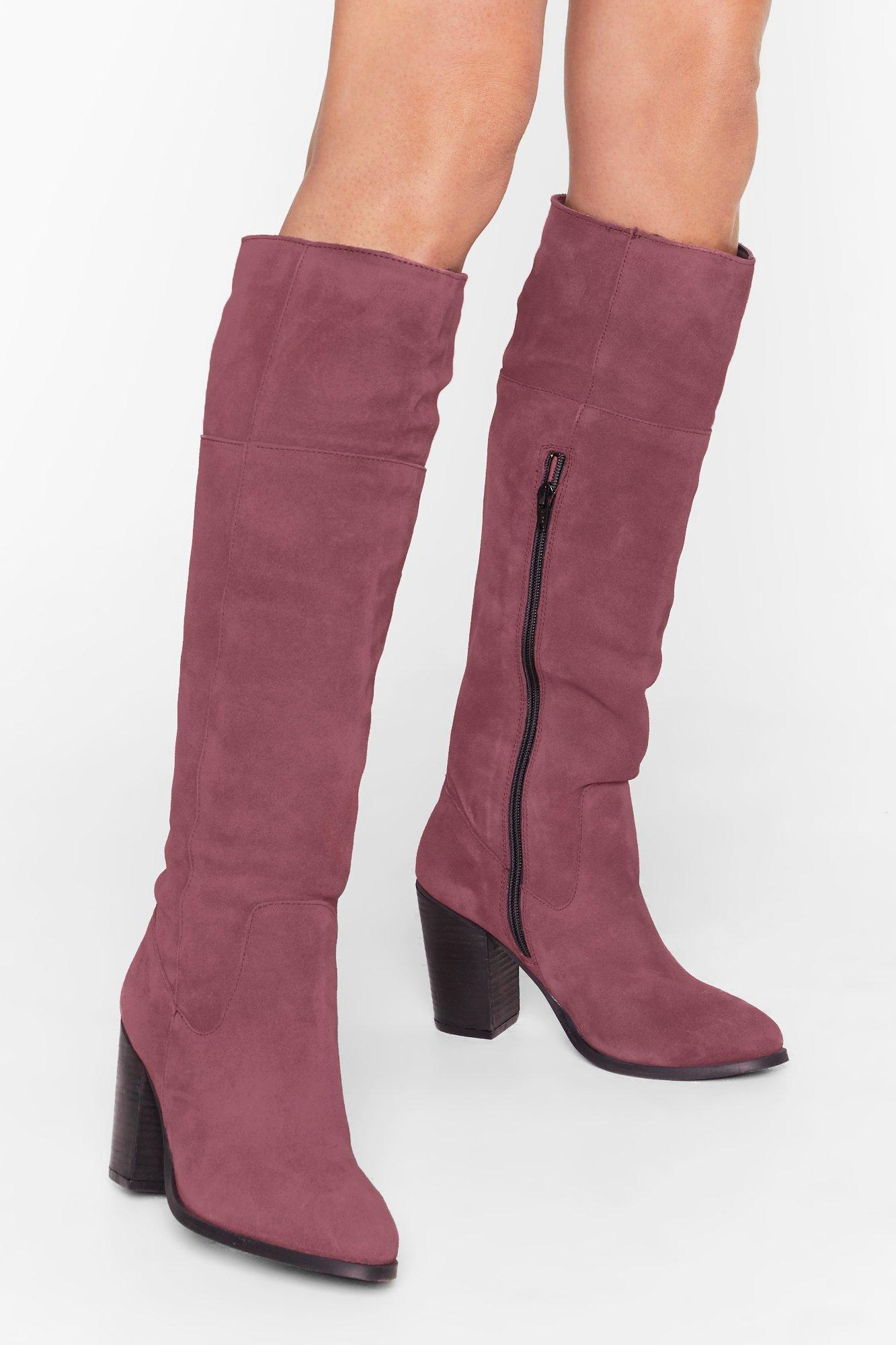 Image of We Finally Suede It Knee-High Heeled Boots
