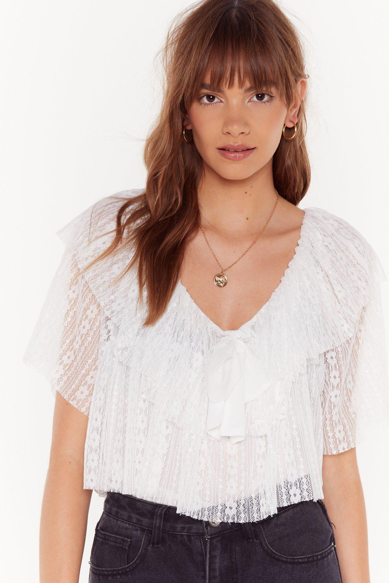 Image of Lace Move It Ruffle Blouse