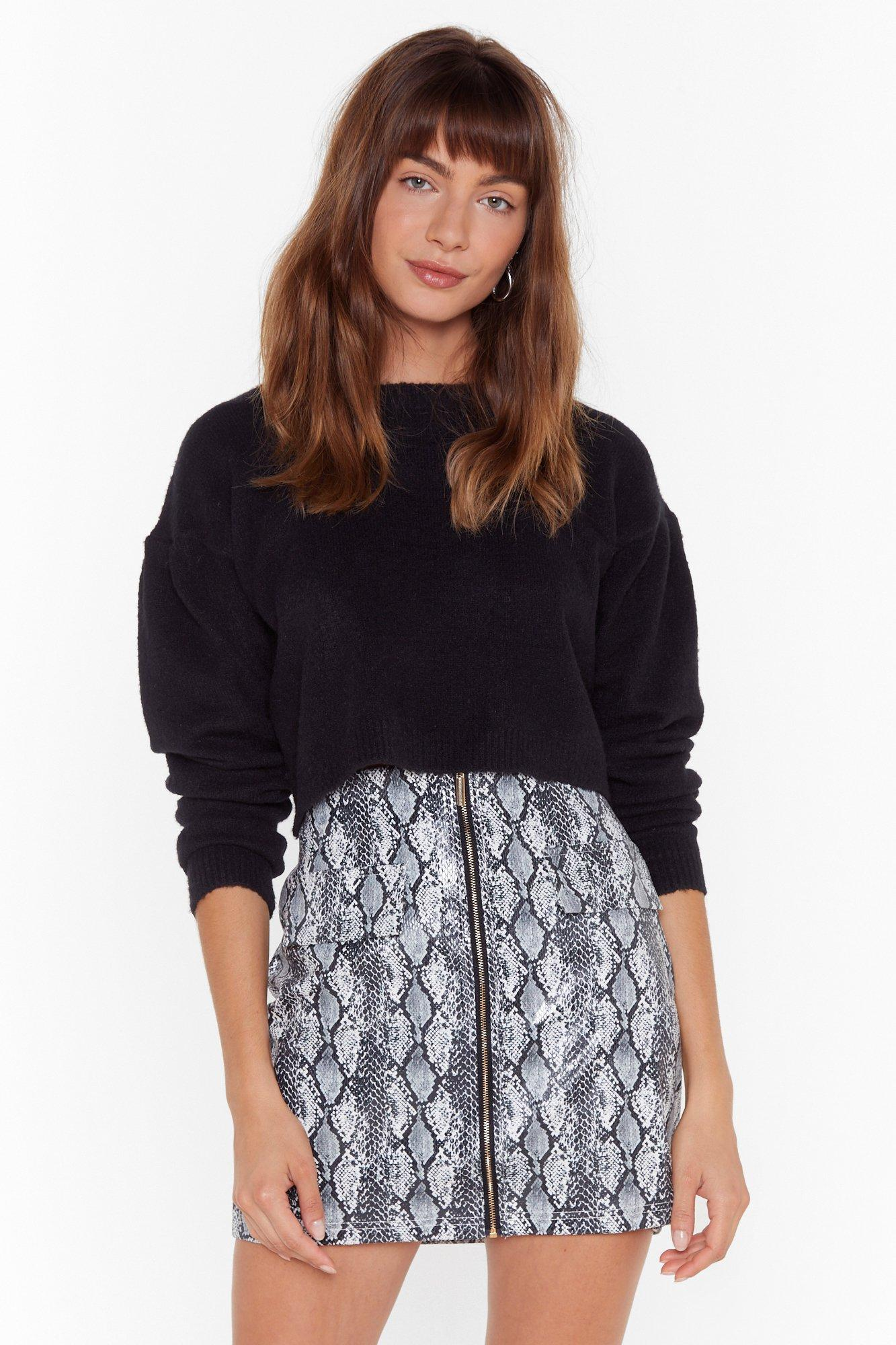 Image of Work for Knit Crew Neck Cropped Sweater