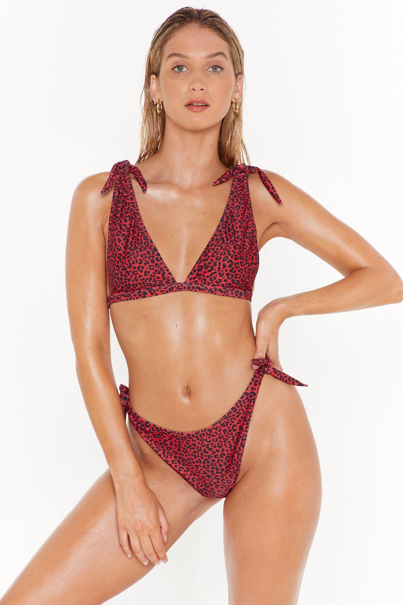 Image of Prowlin' Around the Pool Leopard High-Leg Bikini Set