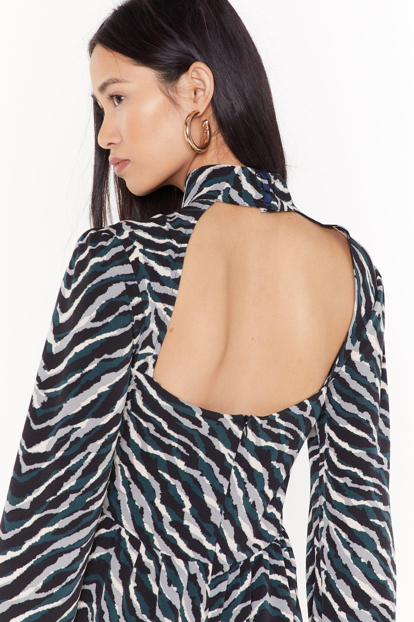 Image of Out On the Wild Side Zebra Midi Dress