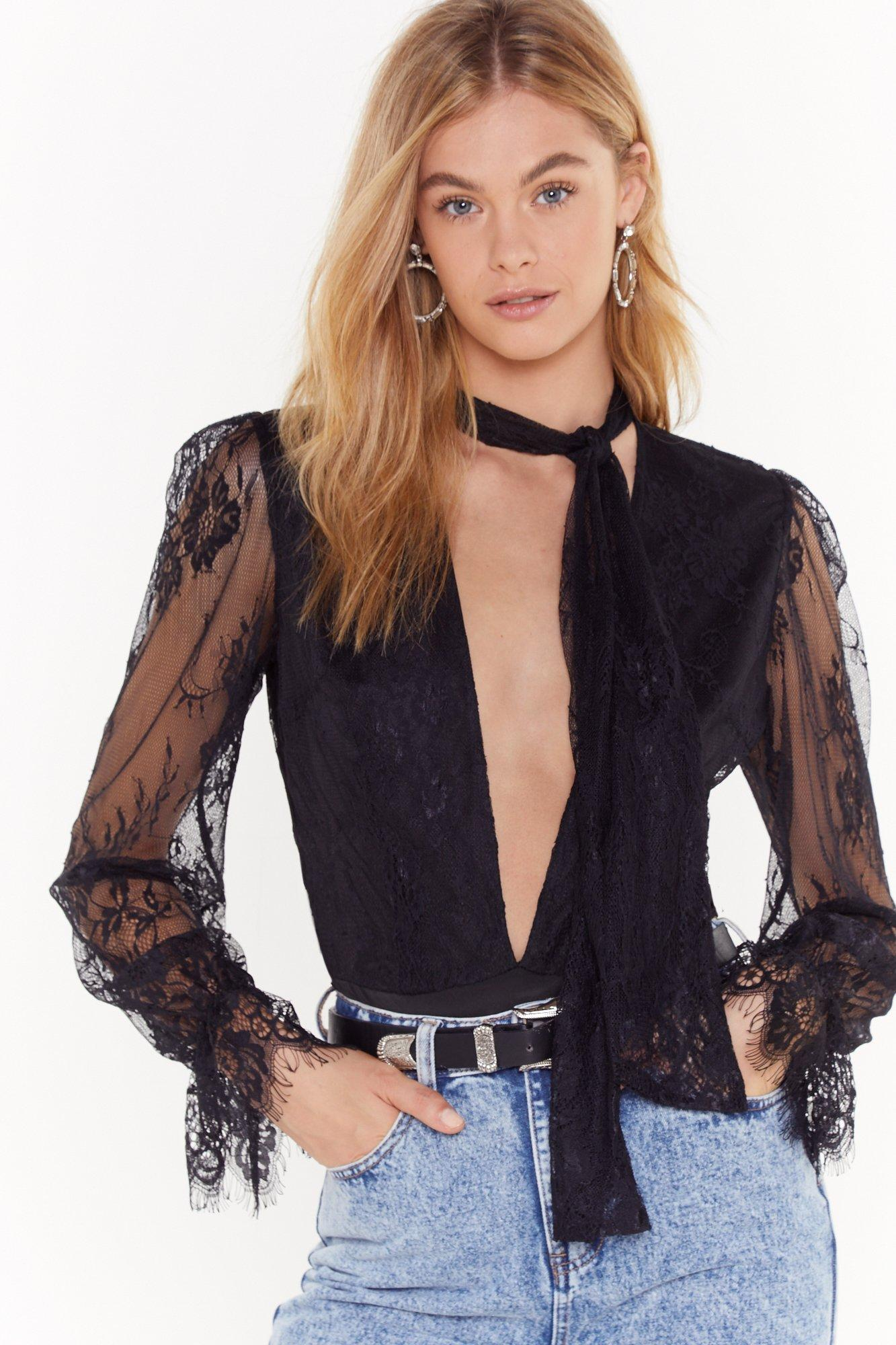 Image of Pink Silk and Coffee Lace Plunging V-Neck Bodysuit
