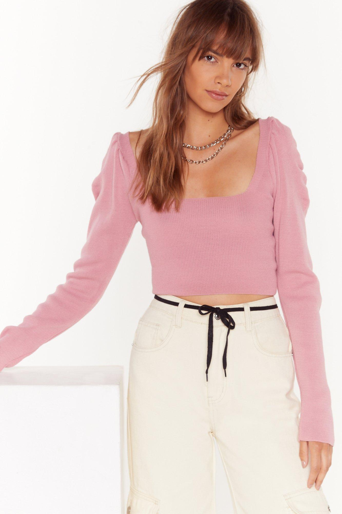 Image of Some Like Knit Hot Puff Cropped Top