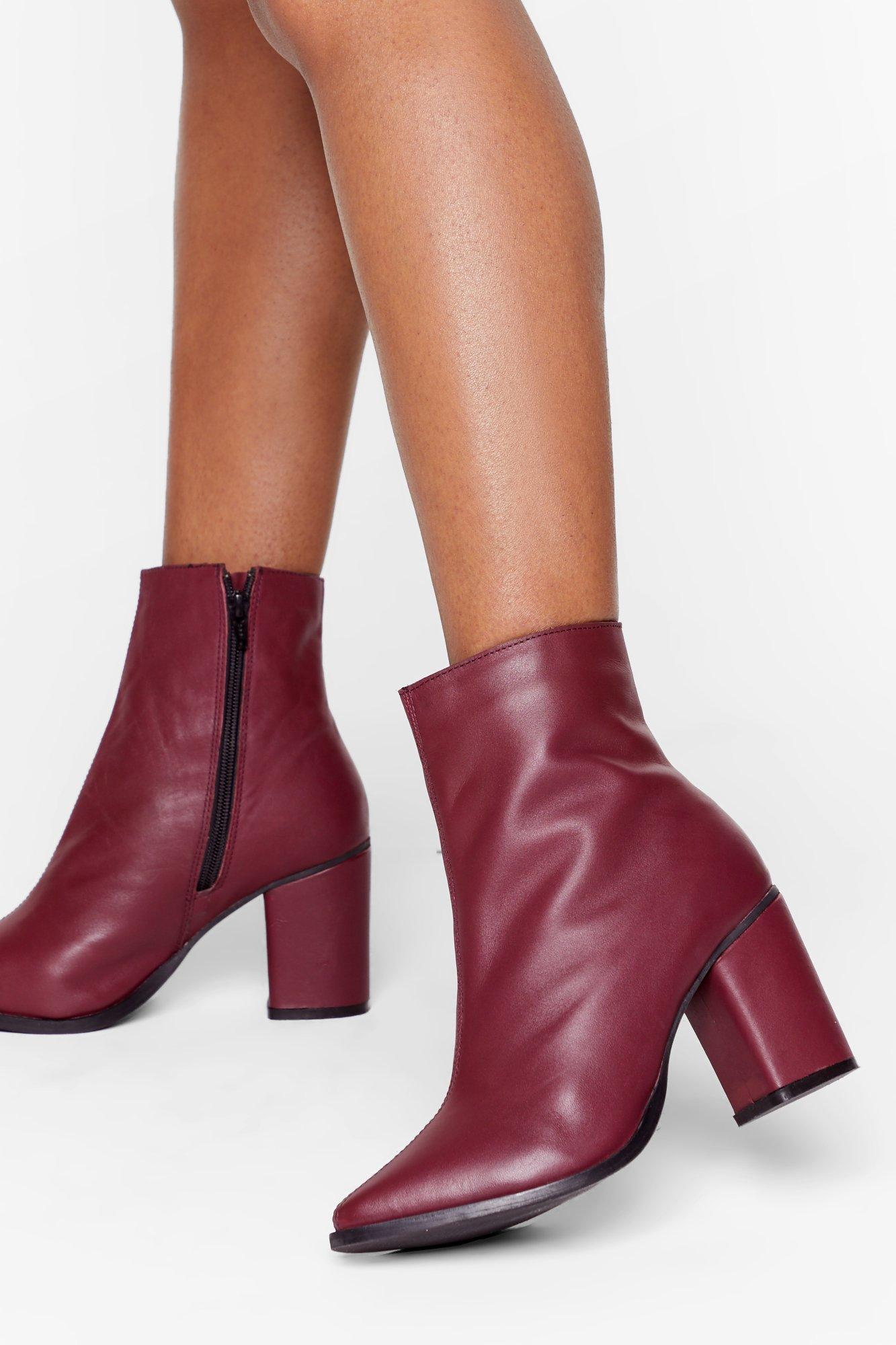 Image of Leather You Like It Heeled Ankle Boots