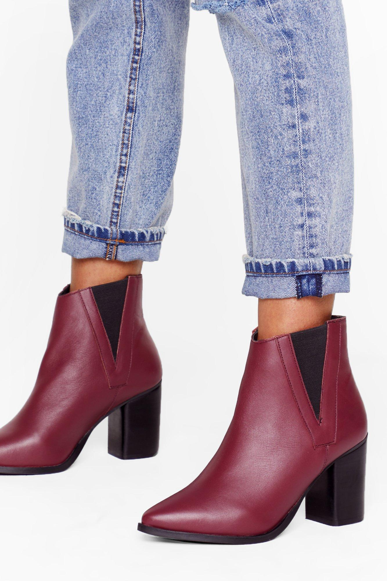 Image of My Best Side Leather Heeled Boots