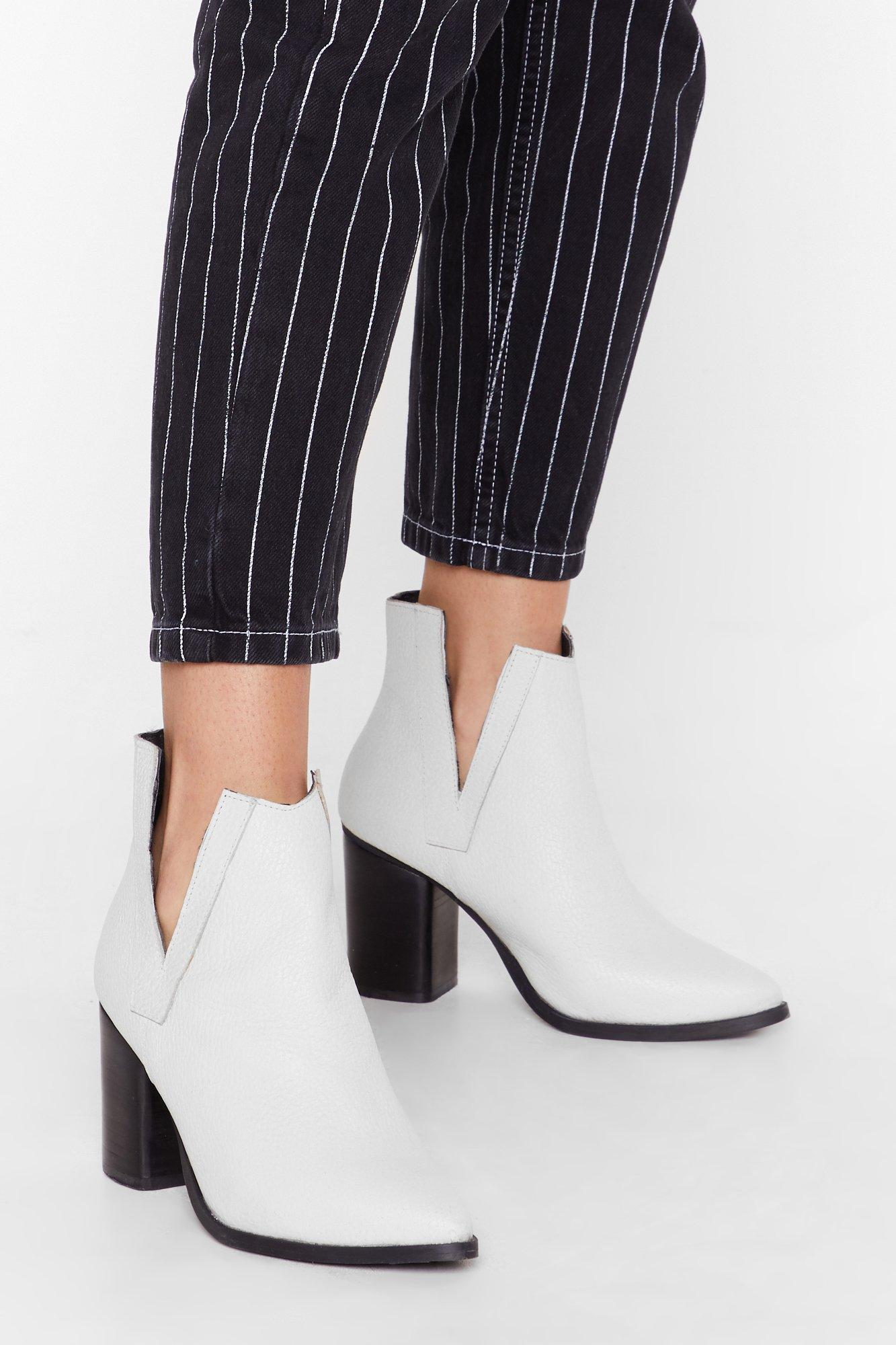 Image of V cut out tumbled leather heeled boots