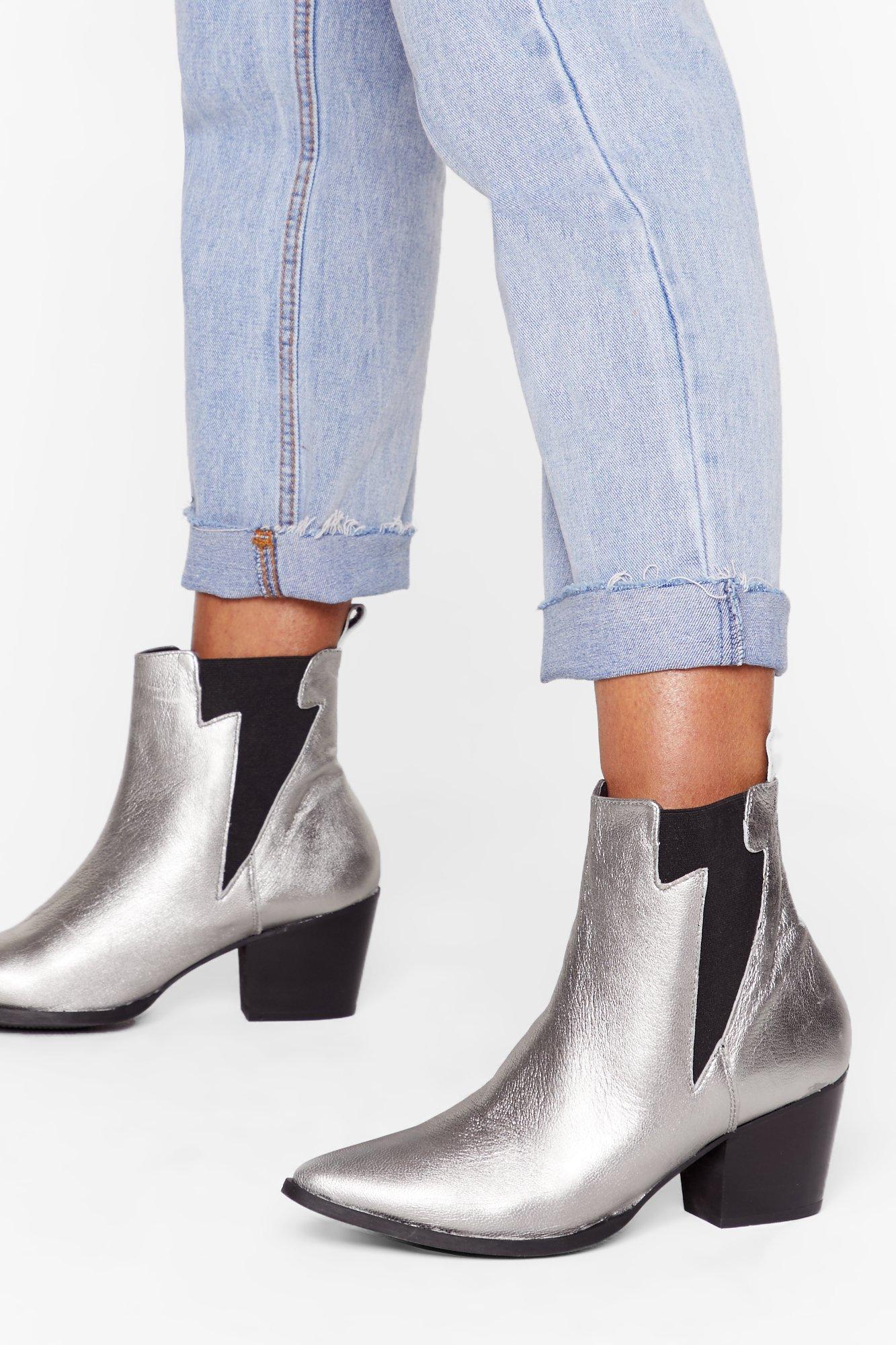 Image of Like Lightening Metallic Leather Chelsea Boots
