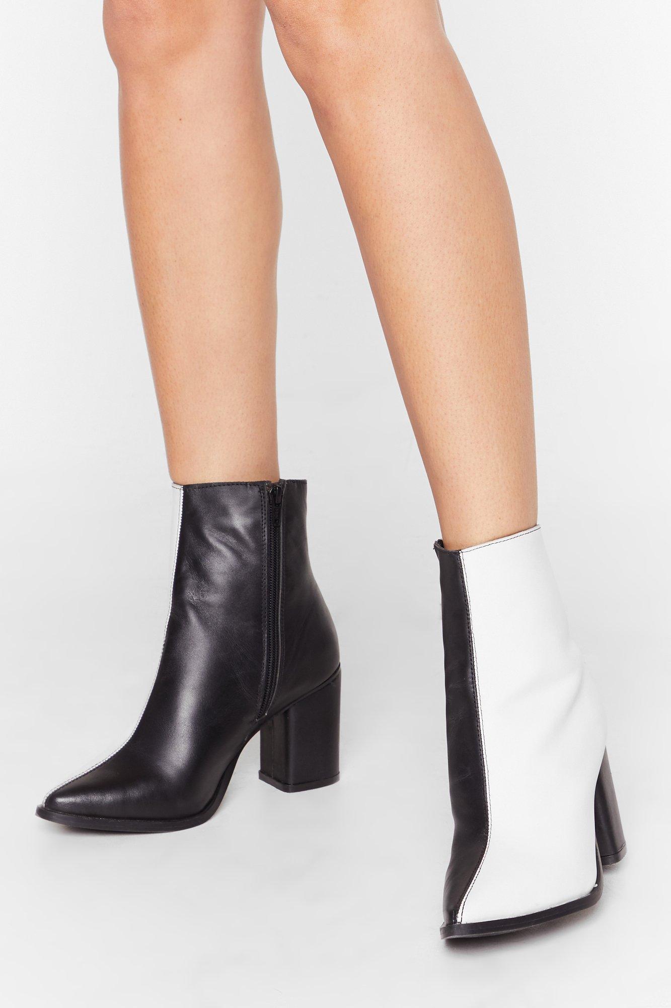 Image of Leather mono half & half boot block heel boot