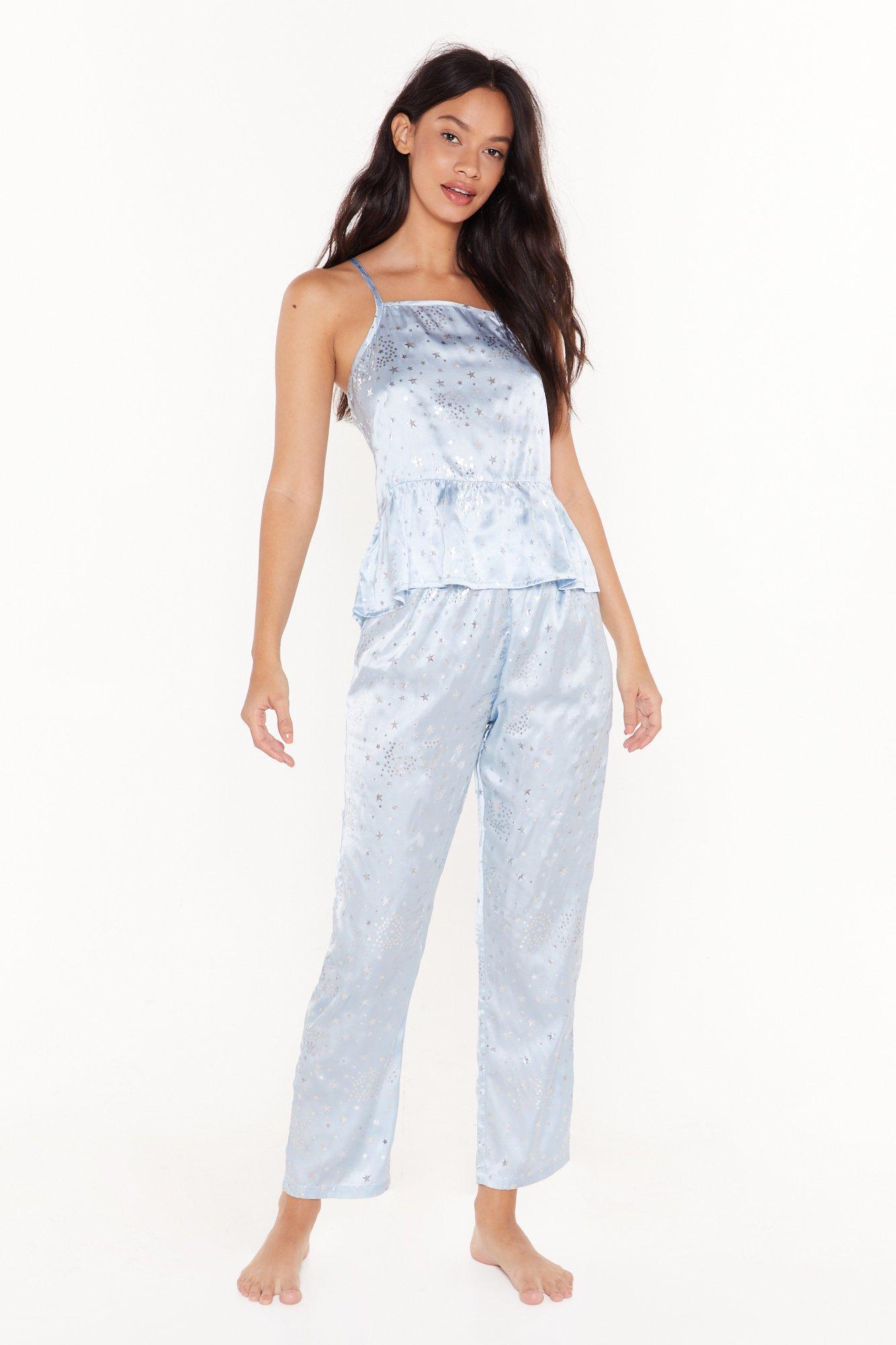 Image of Late Night Memories Satin Star Pajama Set