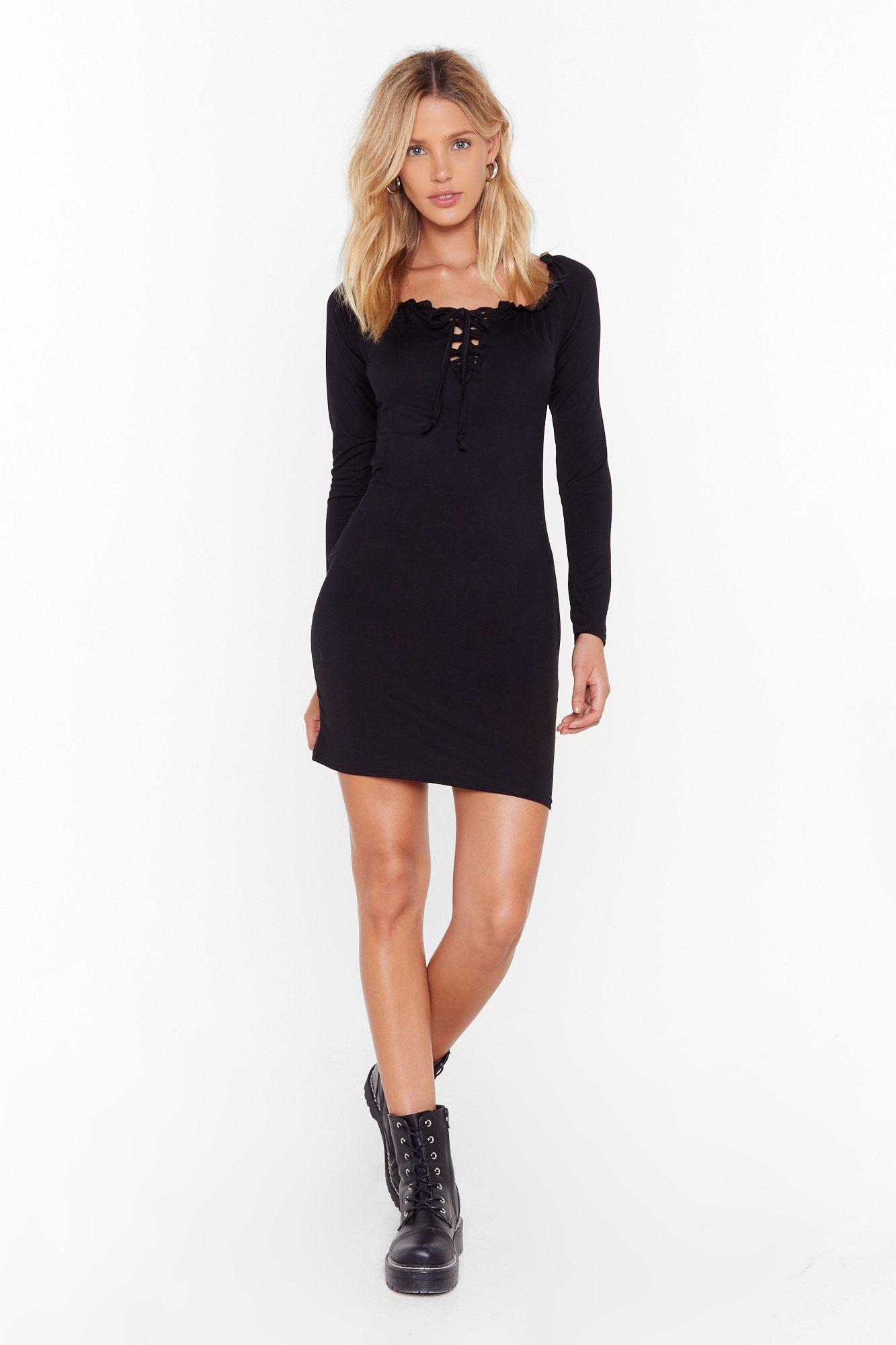 Image of Call Fit Quits Lace-Up Mini Dress
