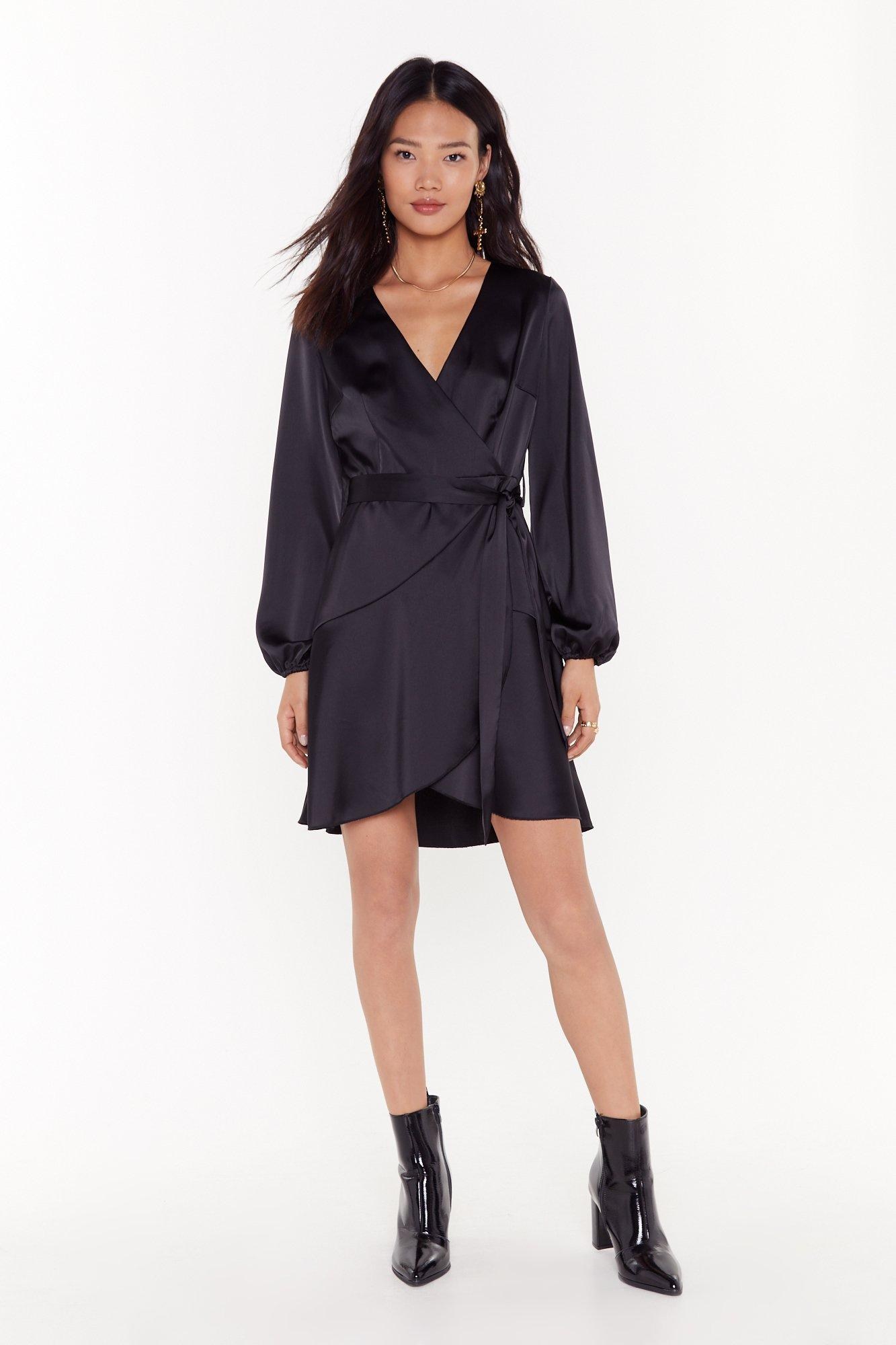 Image of Touch and Go Wrap Satin Dress