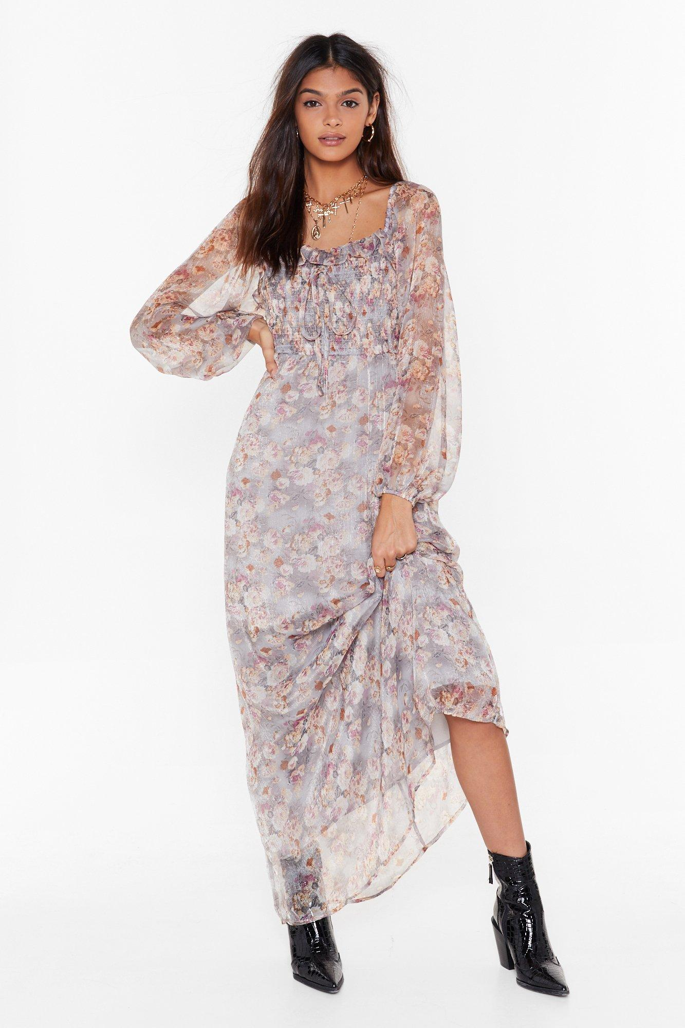 Image of Get Over Sheer Floral Maxi Dress
