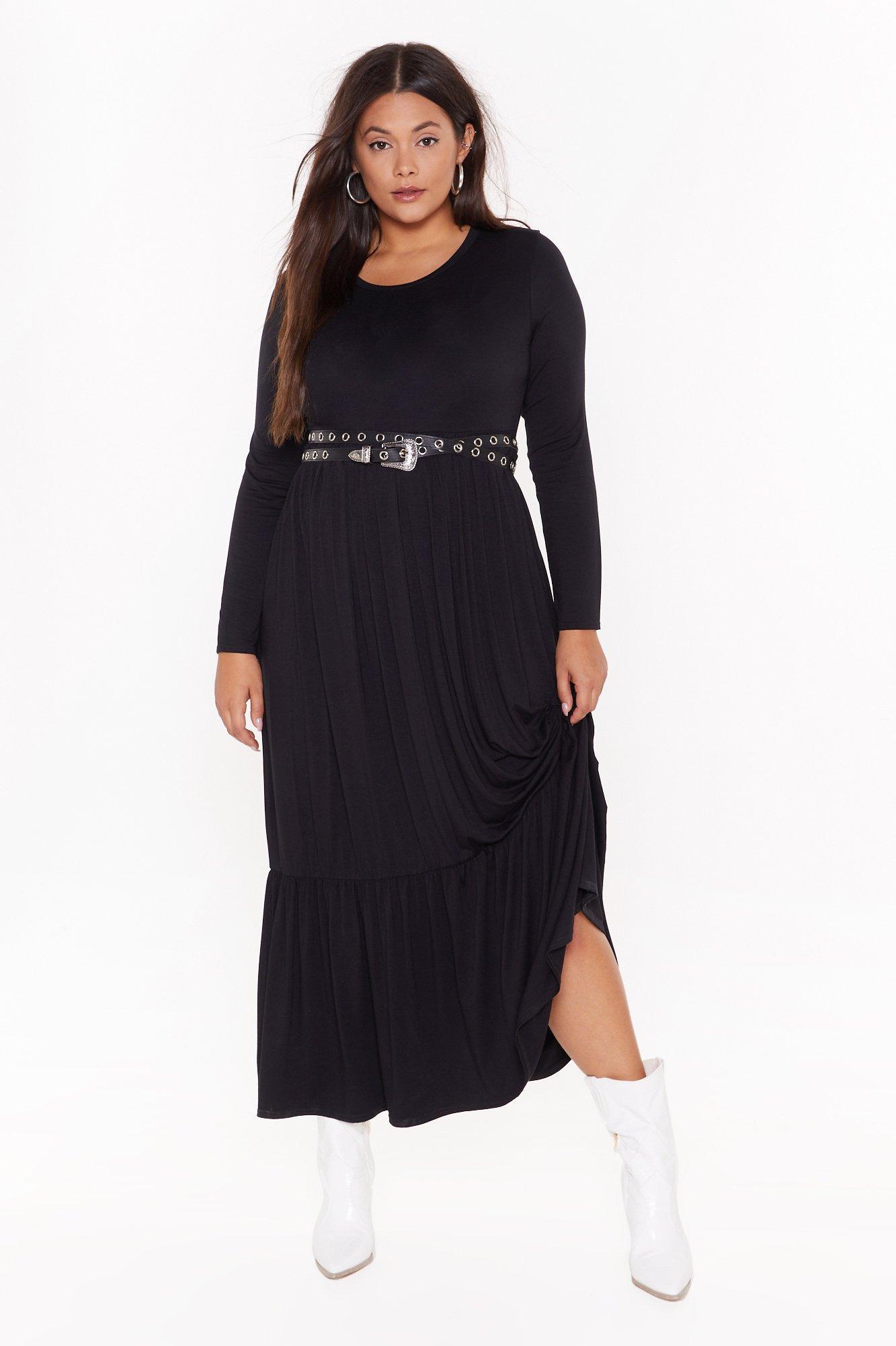Image of plus layered maxi smock dress