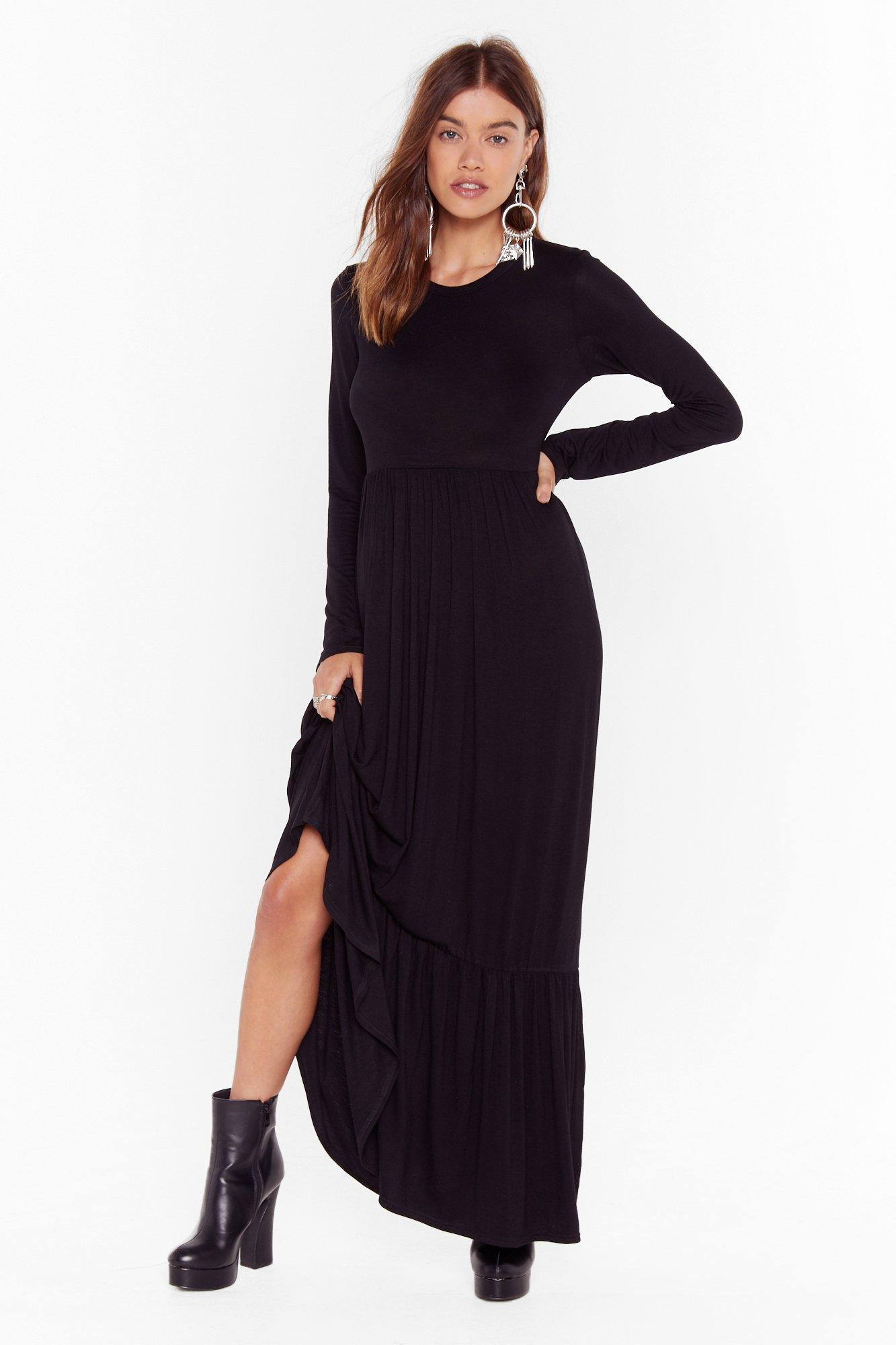Image of layered maxi smock dress