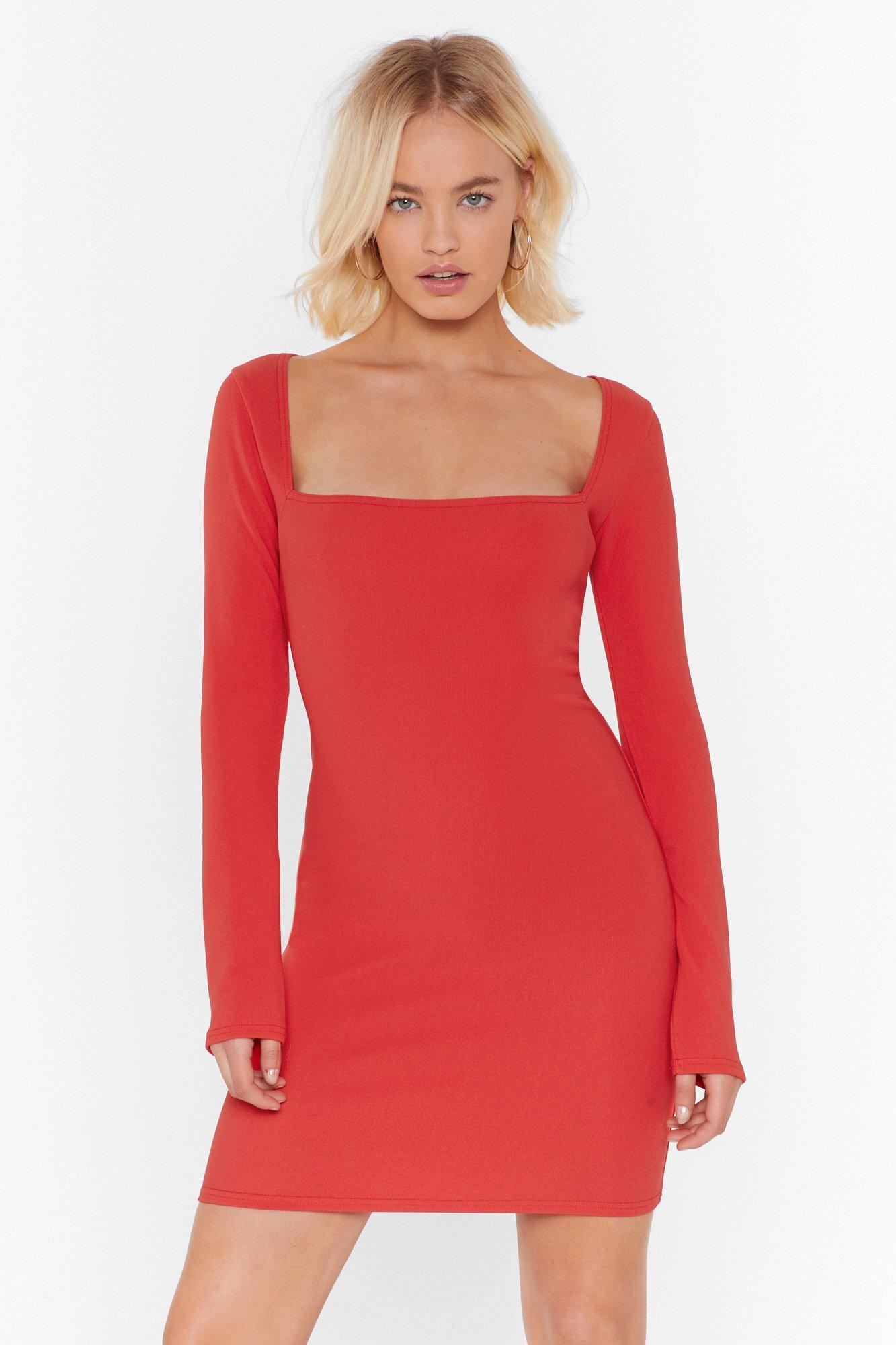 Image of For All You Square Ribbed Mini Dress