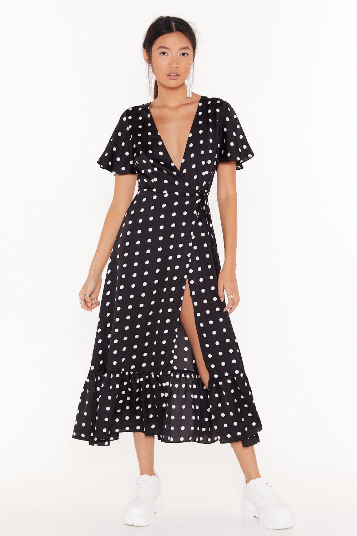 Image of It's Dot Over Satin Midi Dress