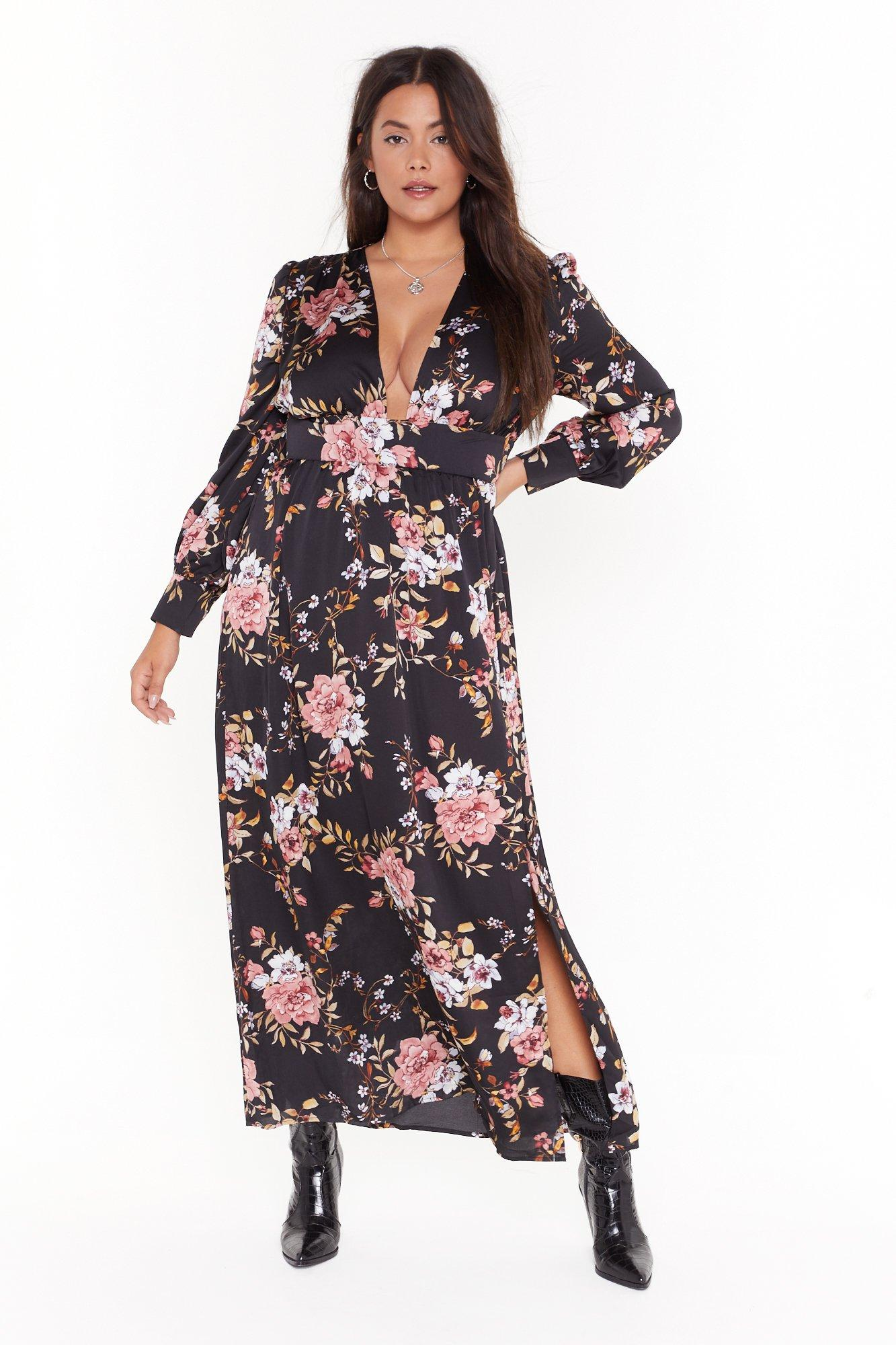 Image of No If's or Buds Plus Floral Maxi Dress
