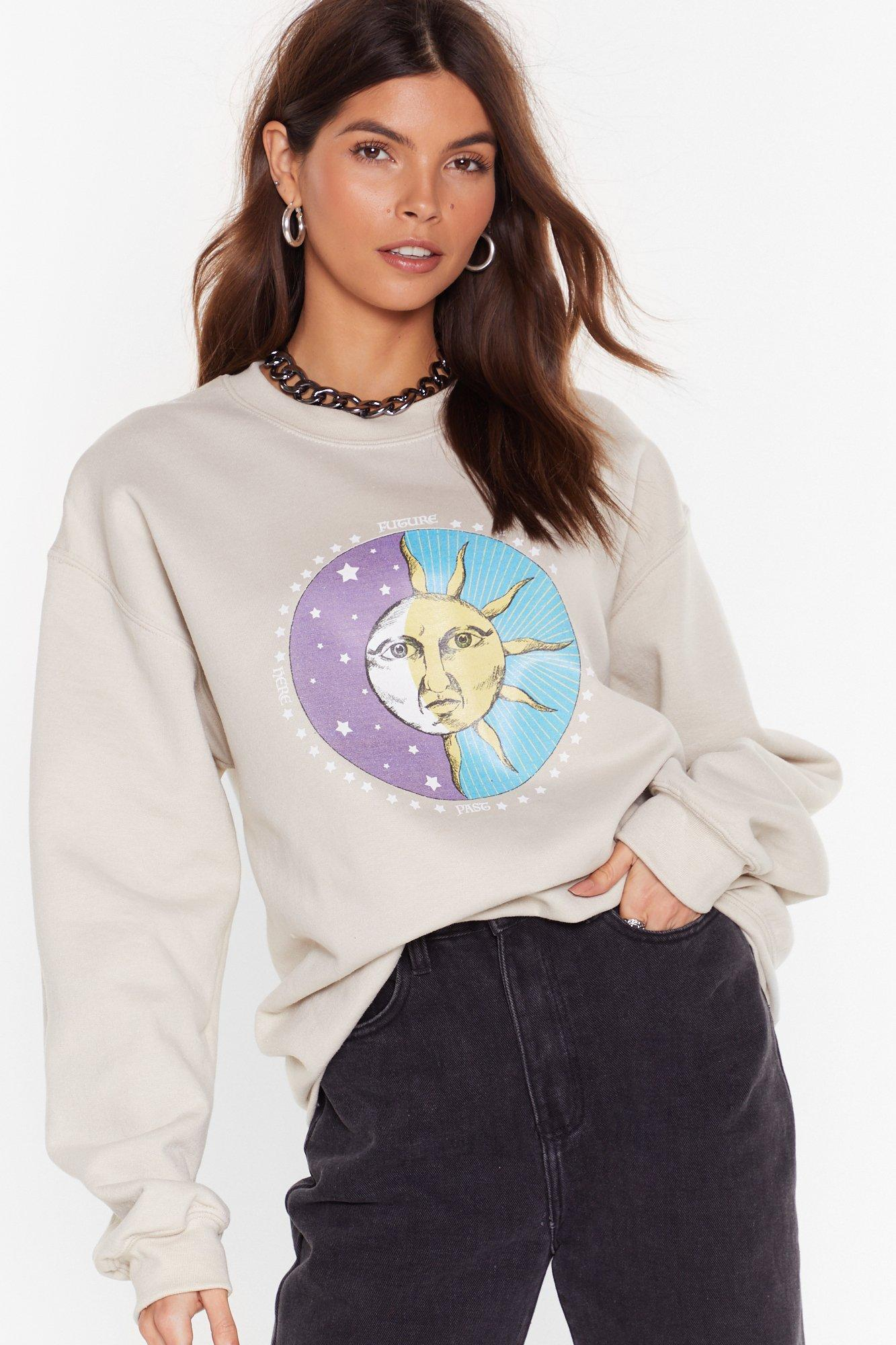 Image of Celestial Being Sun and Moon Graphic Sweatshirt
