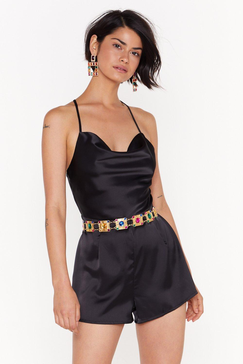 Image of Cowl Down Satin Romper