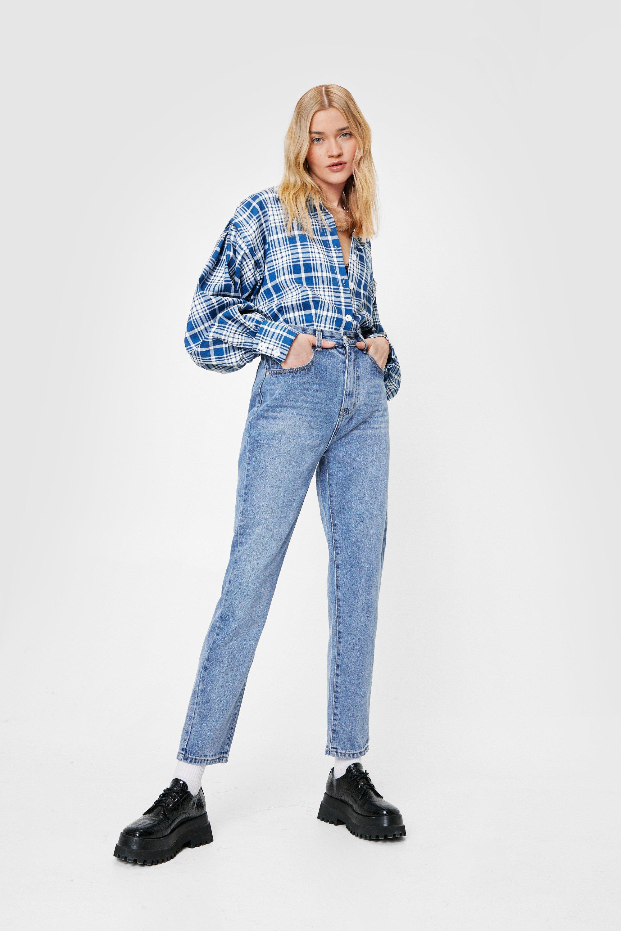 Image of Womens Straight Talking High-Waisted Jeans - Mid Blue