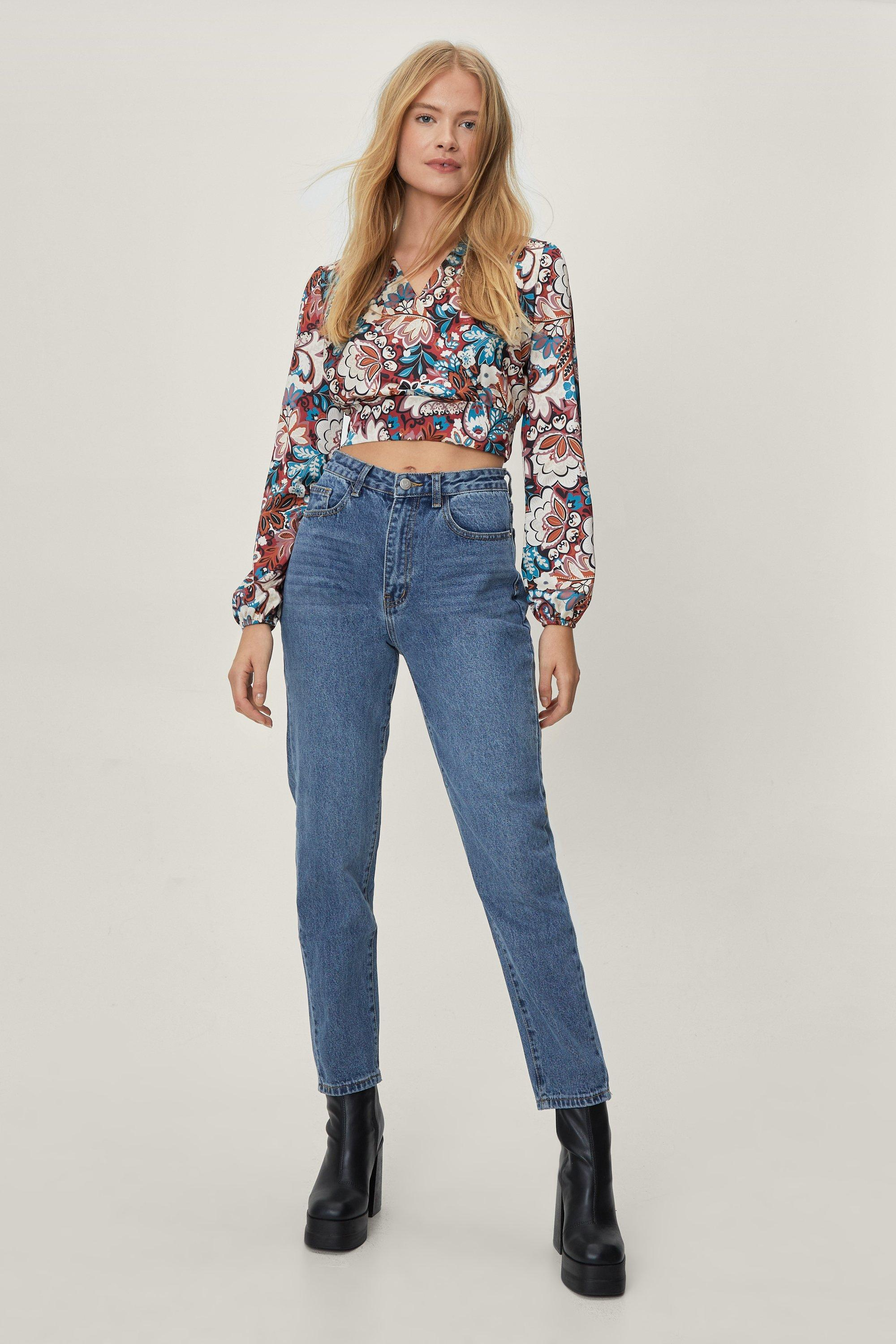 Image of Womens Debbie High-Waisted Mom Jeans - Mid Blue