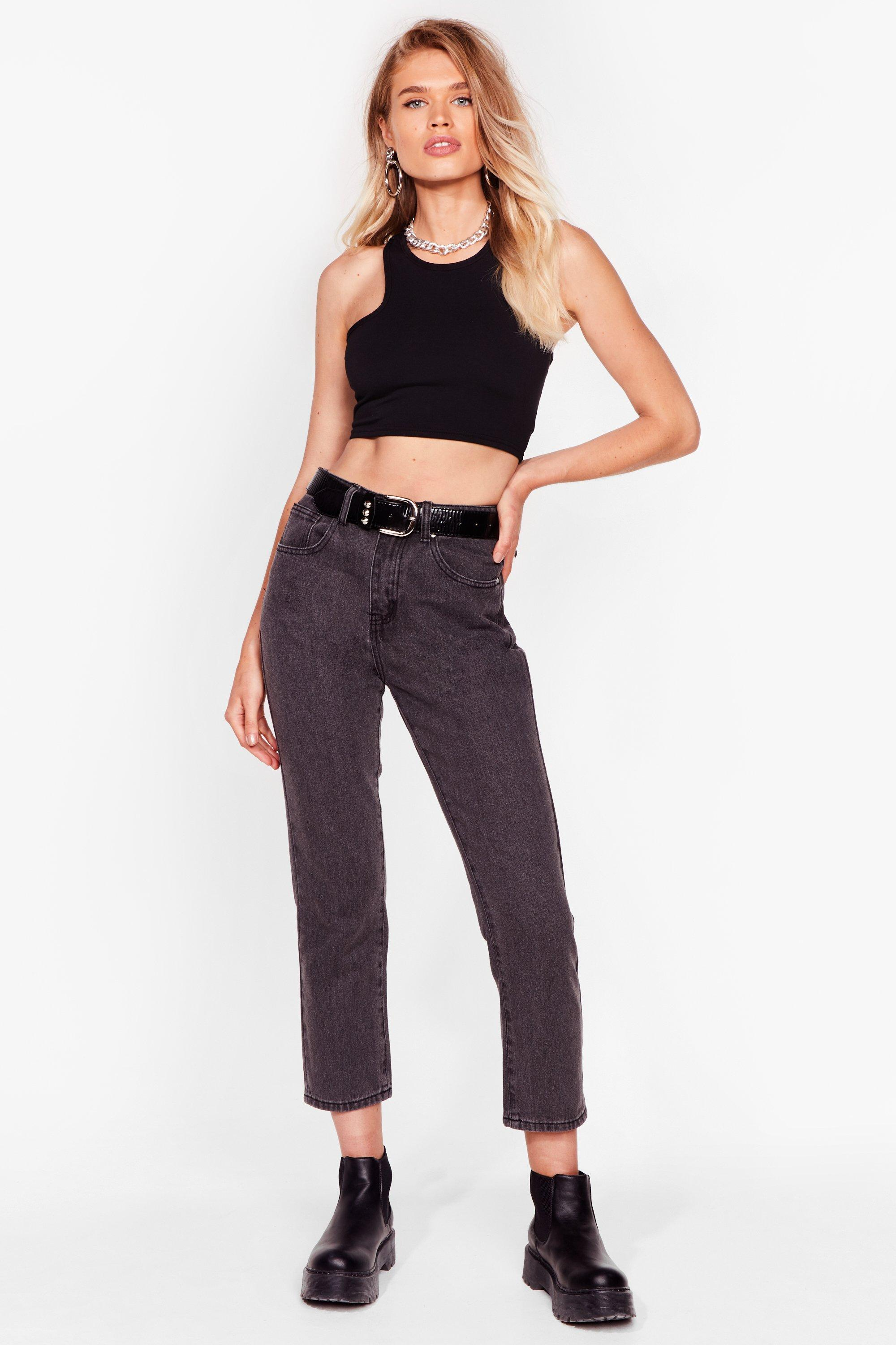Image of Womens Mom's Always Right High-Waisted Jeans - Grey