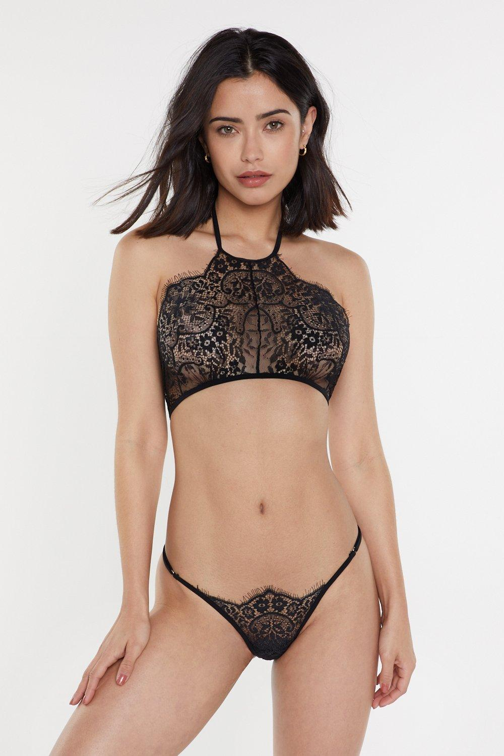 NASTY GAL | Take Me On The Floor Lace Bralette And Thong Set | Goxip
