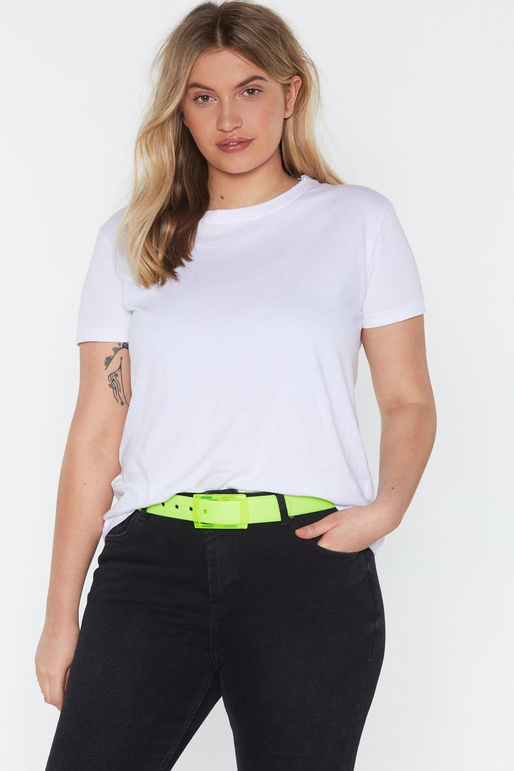 NASTY GAL | All Eyes Neon You Clear Buckle Belt | Goxip
