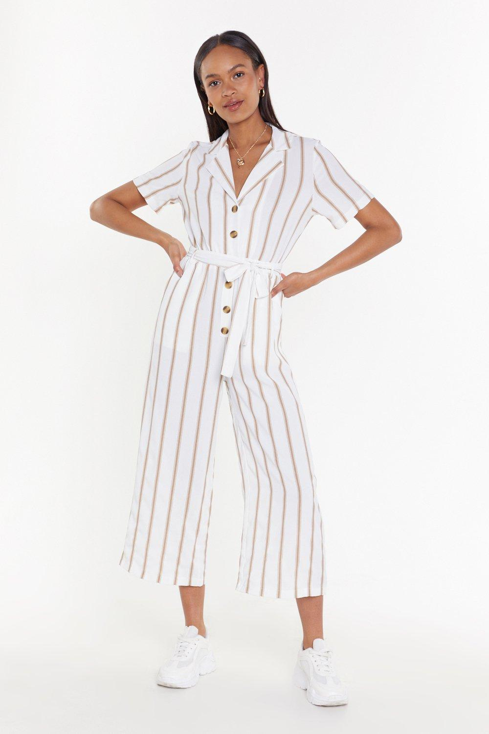 NASTY GAL | Lay It On The Line Striped Jumpsuit | Goxip