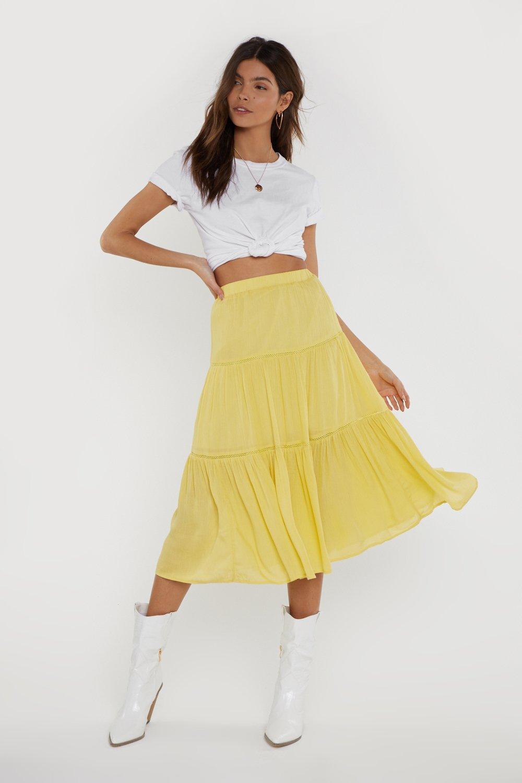 NASTY GAL | Tier We Go High-Waisted Midi Skirt | Goxip