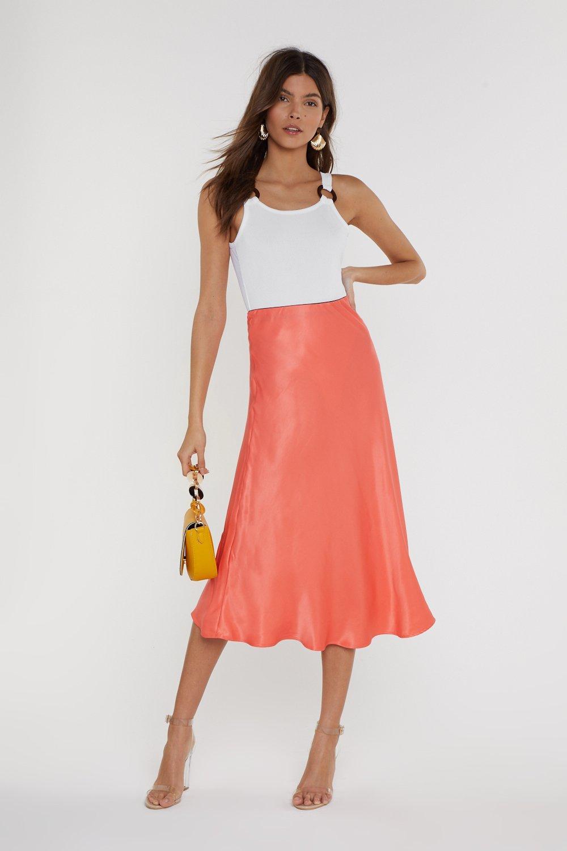 NASTY GAL | Sleek At The Knees Satin Midi Skirt | Goxip