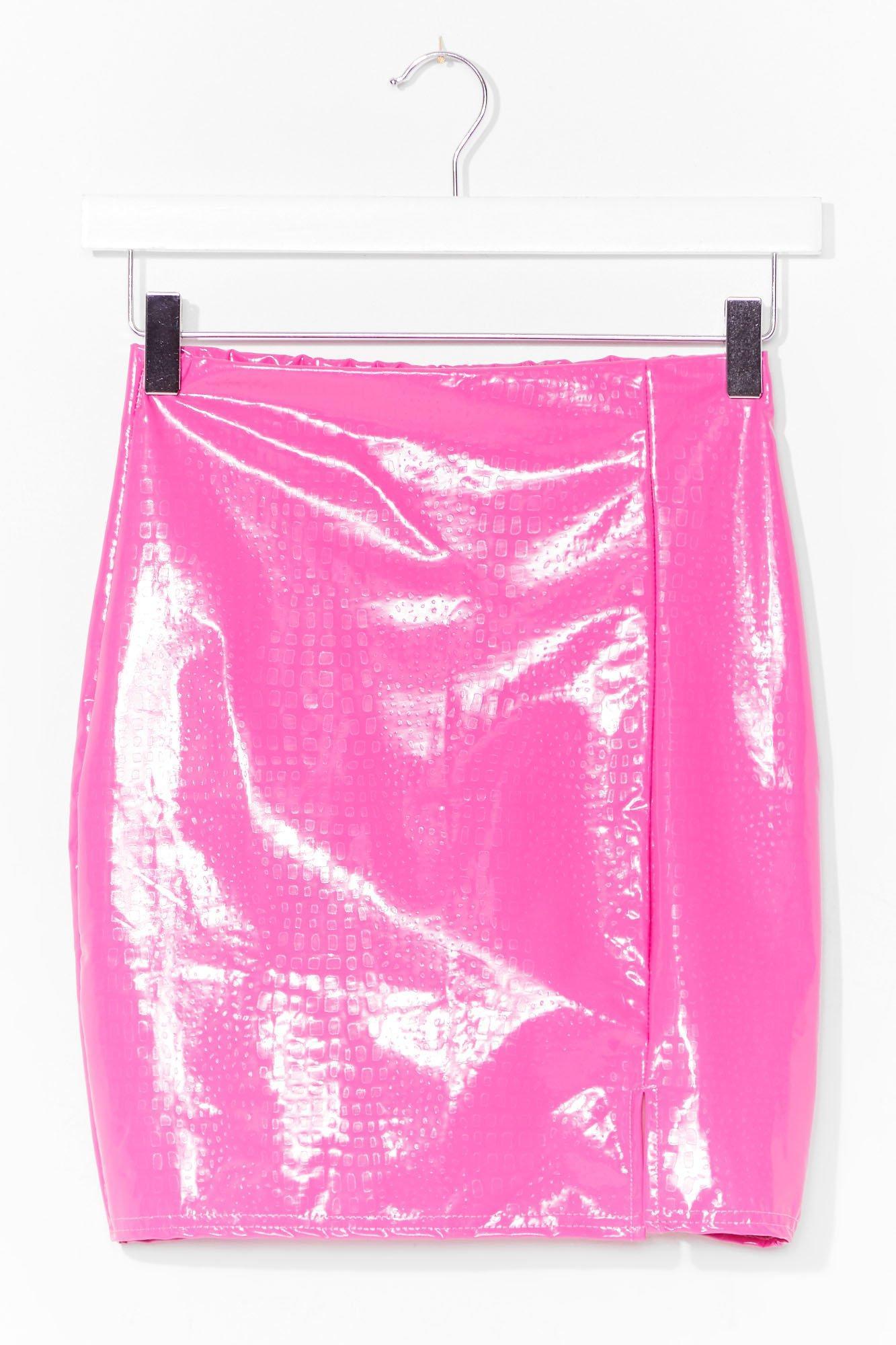 Image of Womens Vinyl Chance Mini Skirt - Pink
