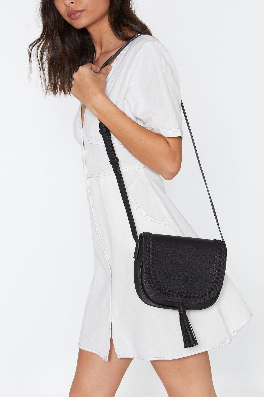 NASTY GAL | Whip Stitch Tassel Cross Body Saddle Bag | Goxip