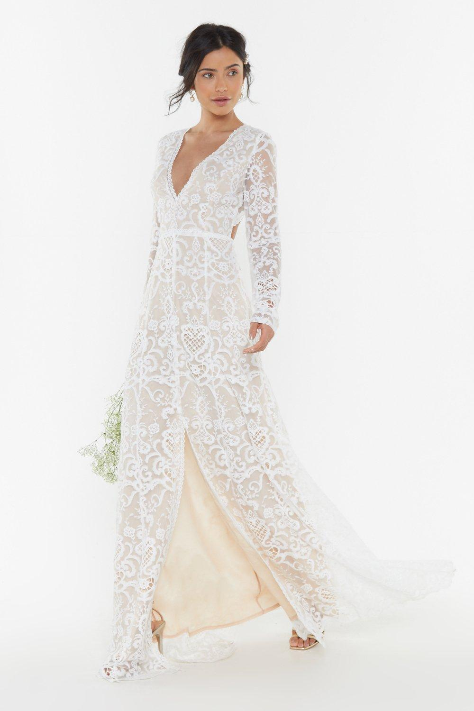 NASTY GAL   Bride It Out Bridal Crochet Dress   Goxip