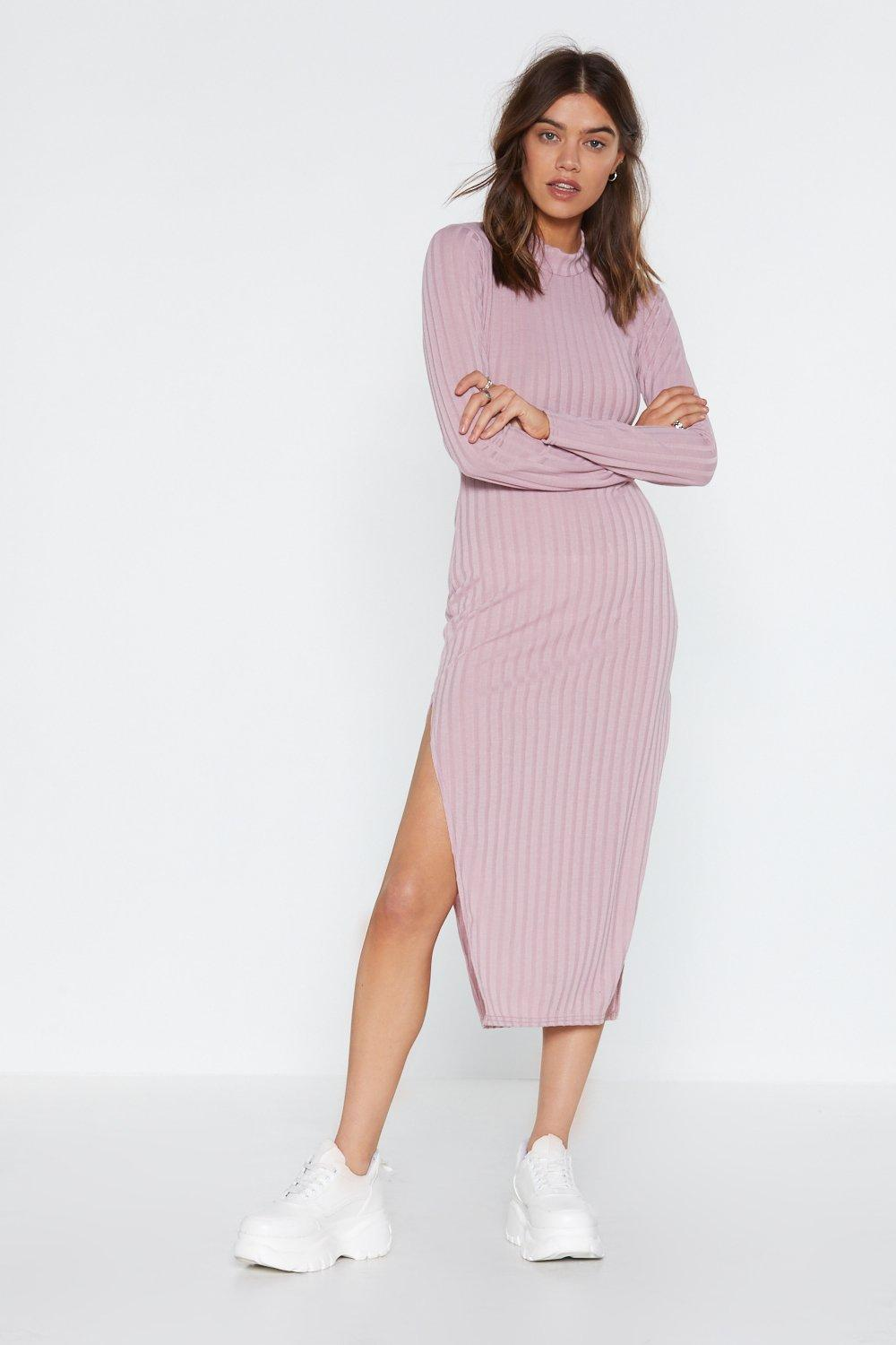 Slit Your Stride Ribbed Dress