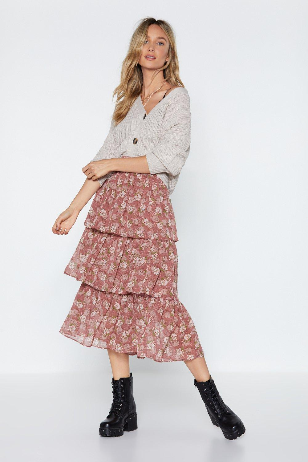 Tier Up Floral Ruffle Skirt