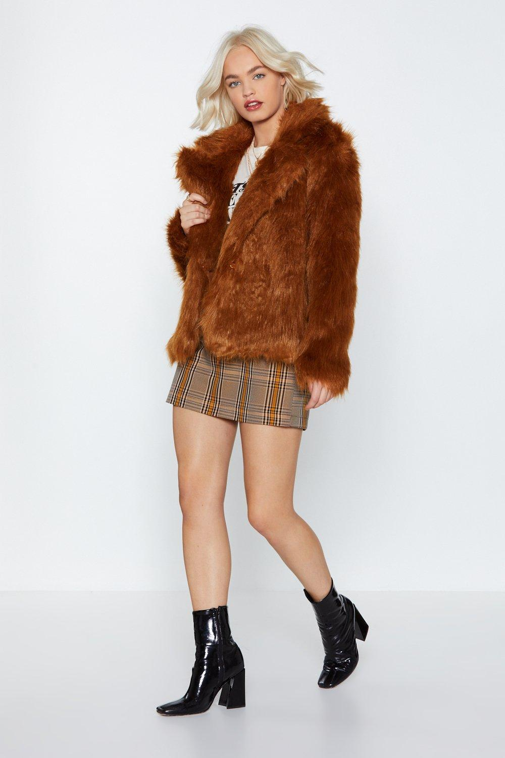 Nasty Gal faux fur coat
