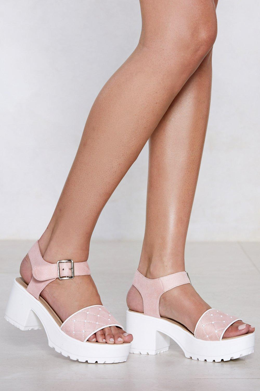 9692489e136f Heel Strap Open Toe Platform Sole Flat Sandal In White Black Rose Gold